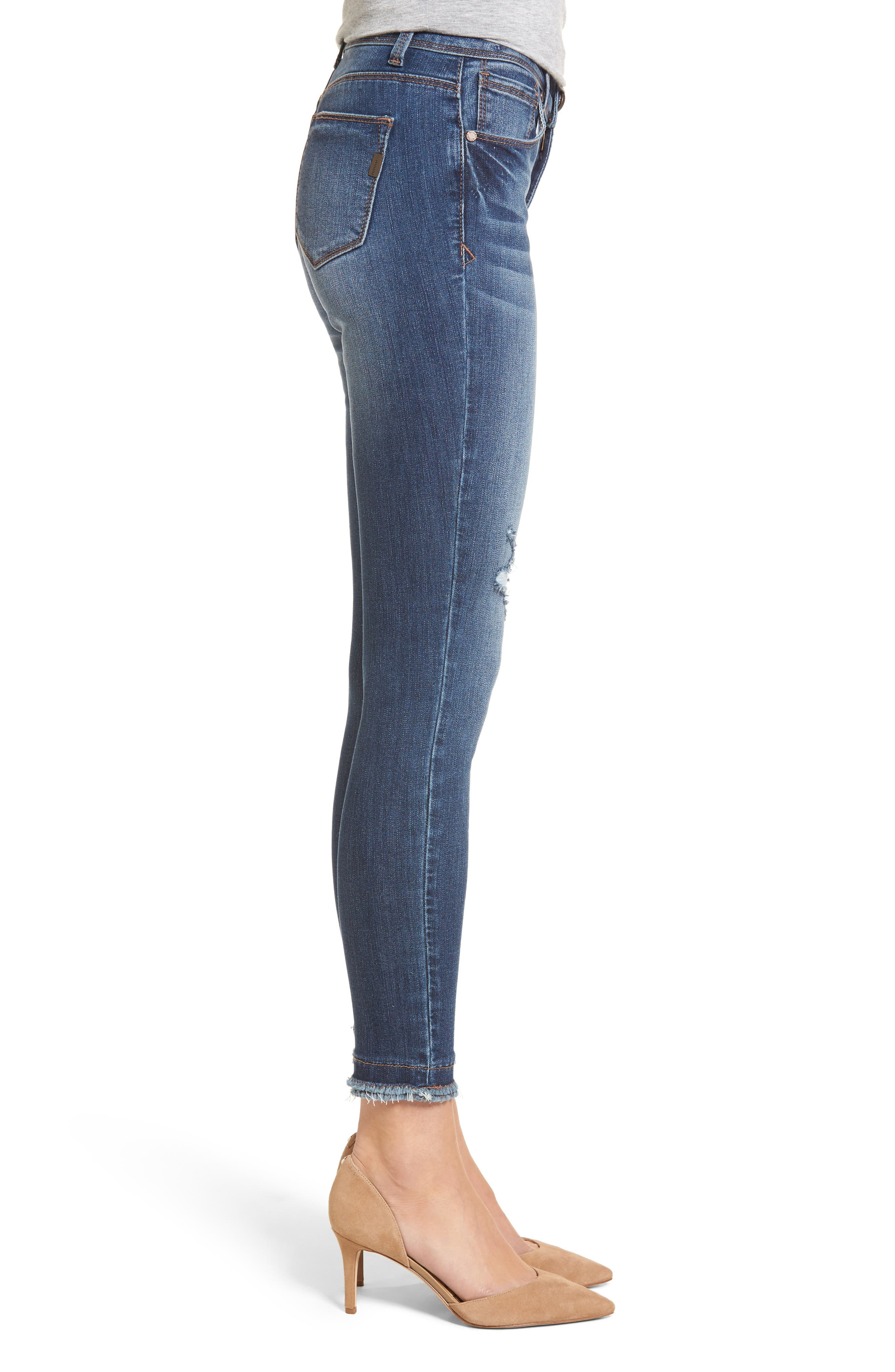 Double Fray Hem Skinny Jeans,                             Alternate thumbnail 3, color,                             420
