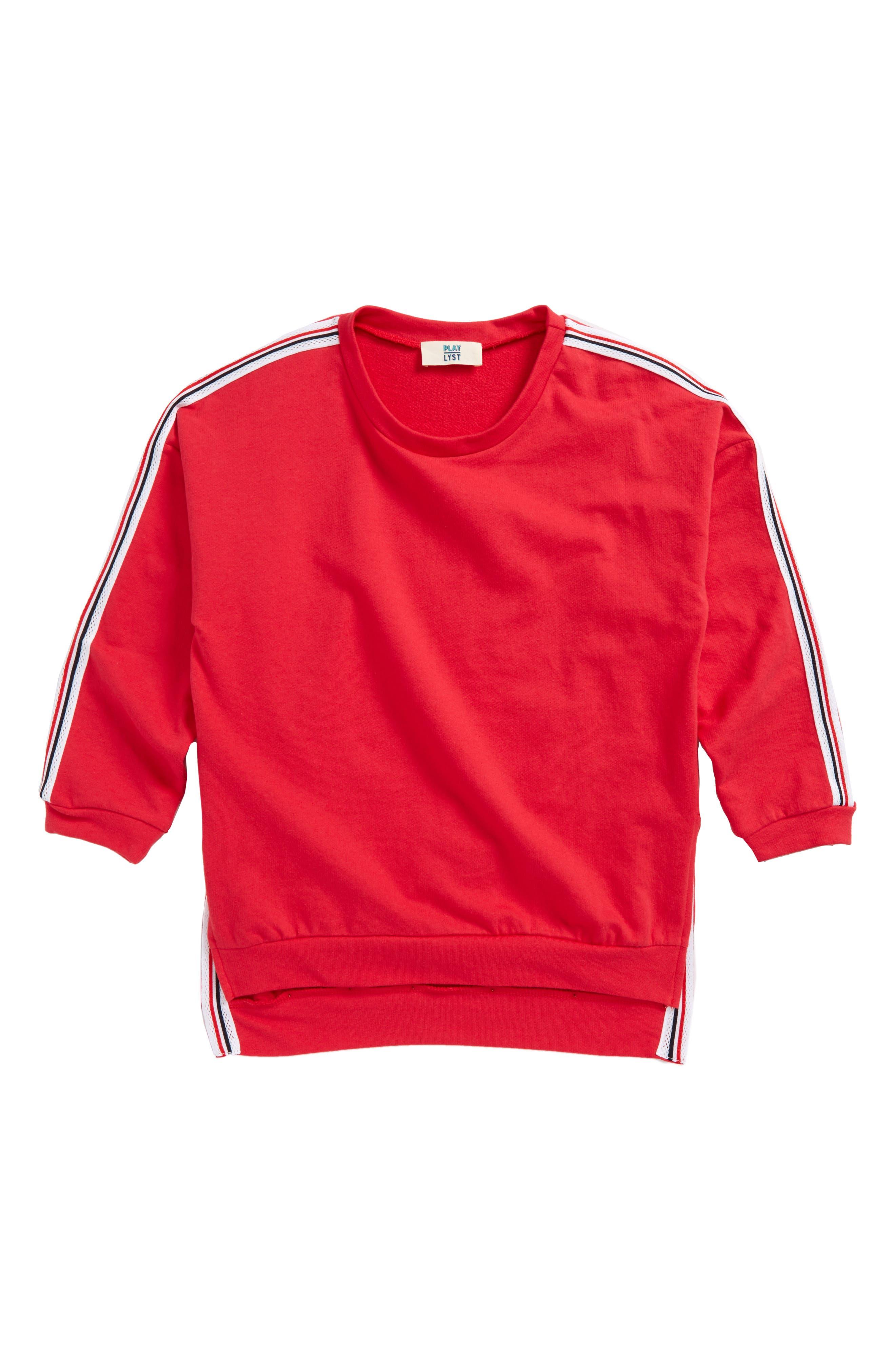 Stripe Trim Sweatshirt,                             Main thumbnail 1, color,                             600