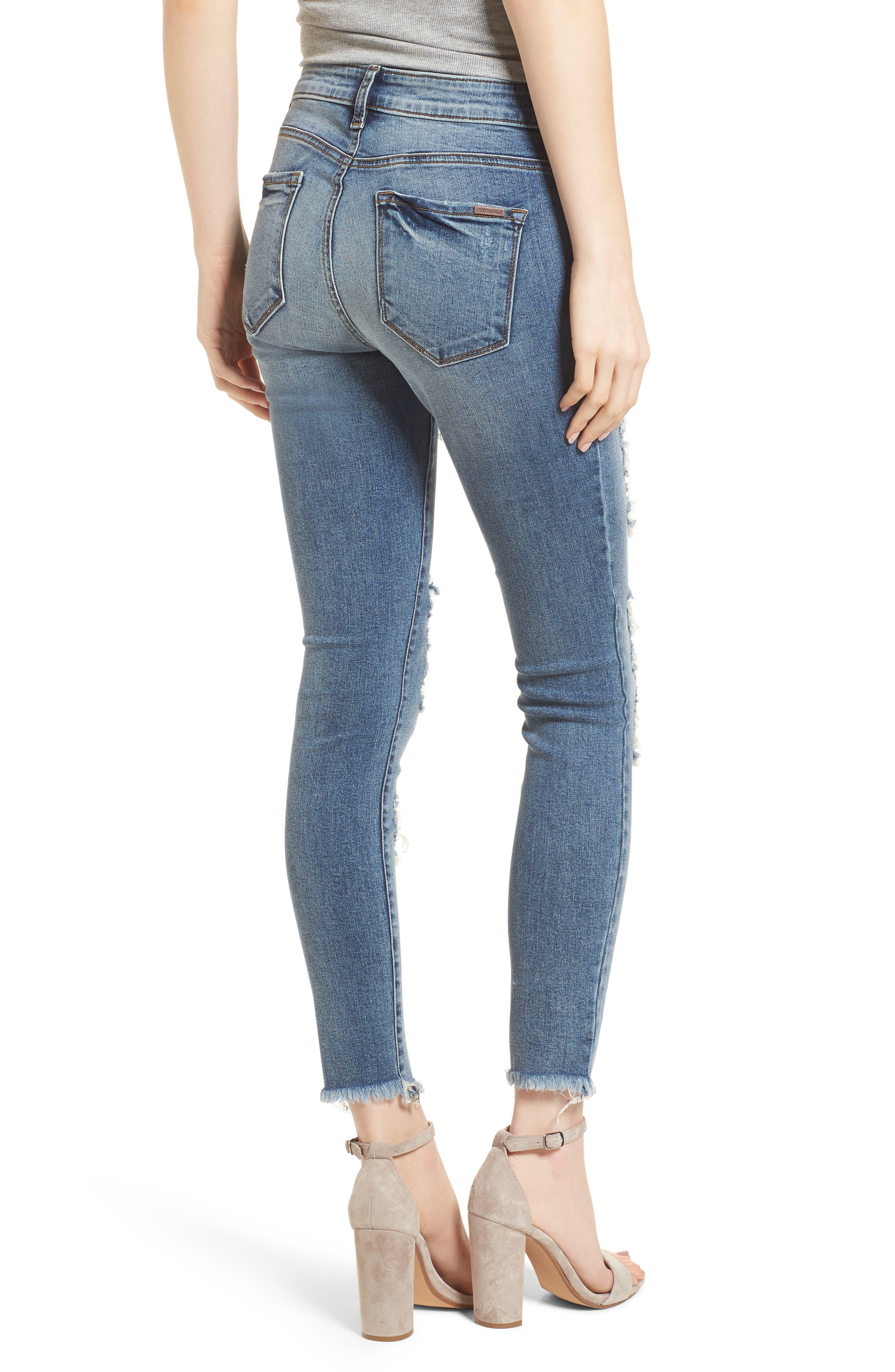 Emma Fray Hem Ripped Ankle Jeans,                             Alternate thumbnail 2, color,                             400