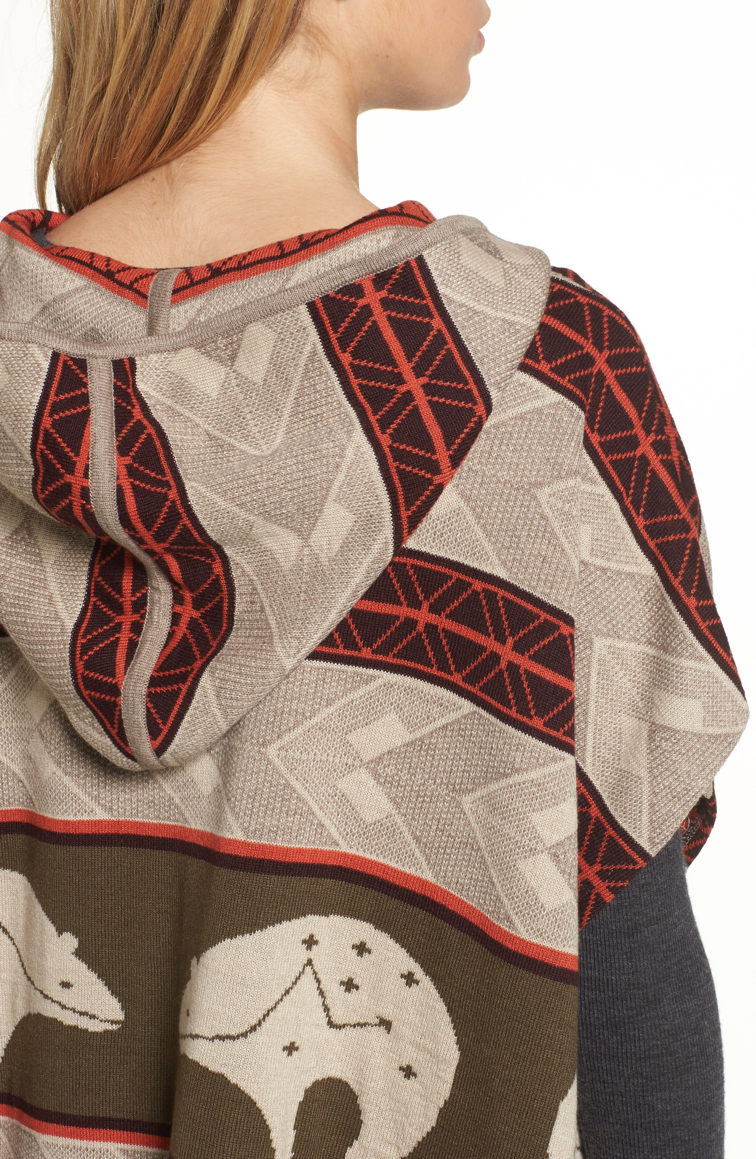 Knit Hooded Poncho,                             Alternate thumbnail 4, color,                             299