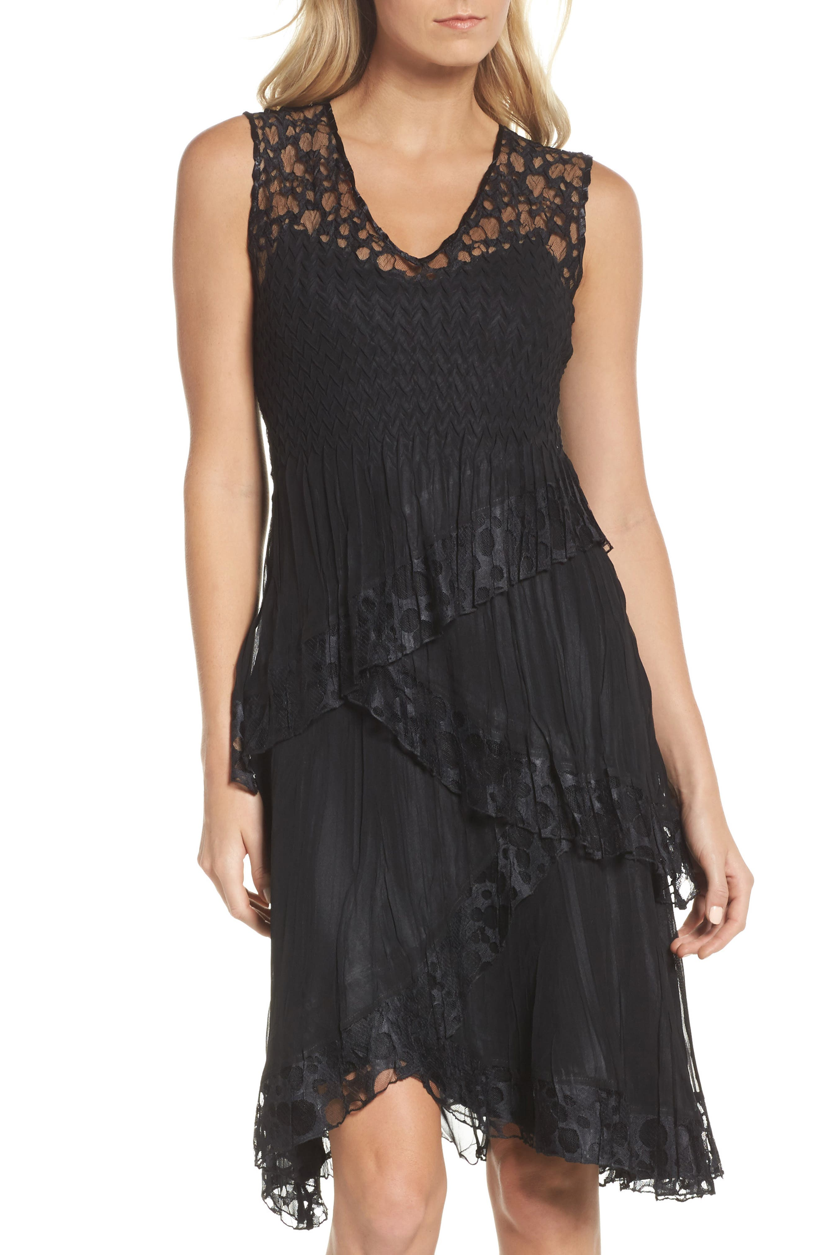 Circle Lace Tiered Dress with Wrap,                             Alternate thumbnail 3, color,                             001