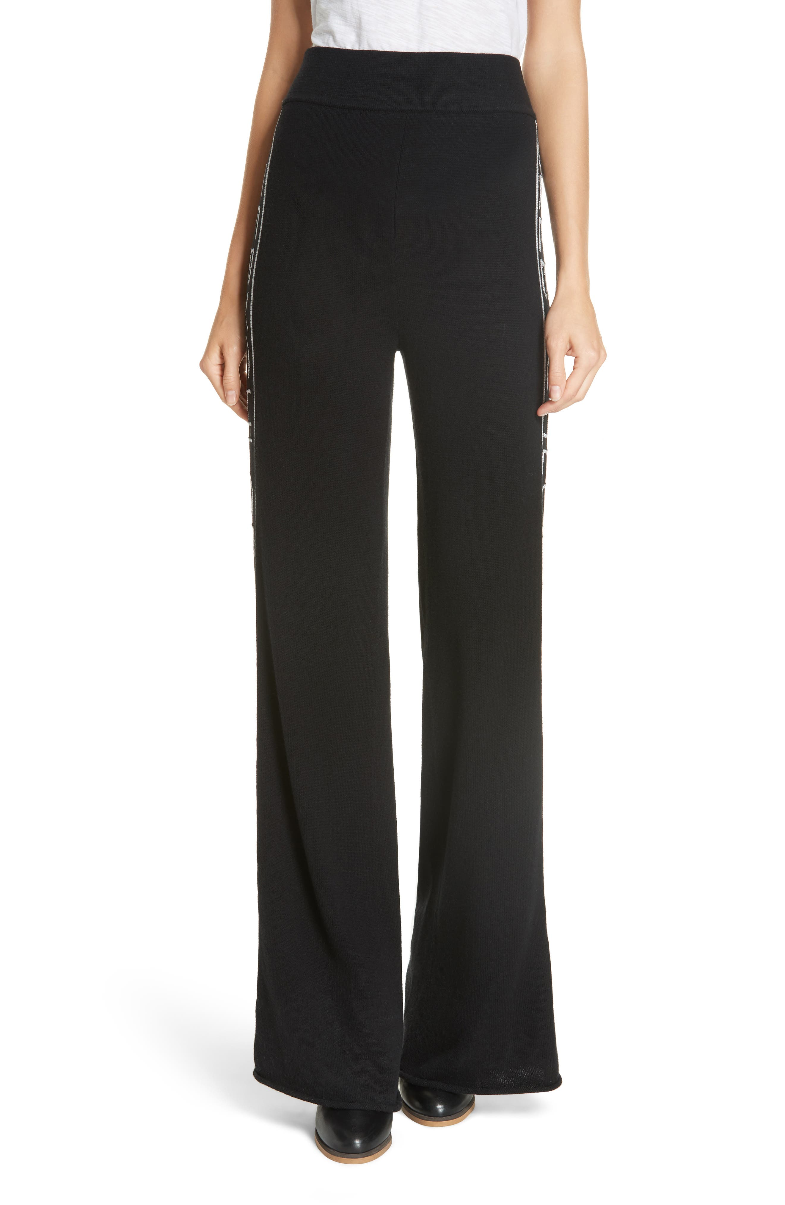 Metallic Knit Wool Blend Trousers,                         Main,                         color, BLACK