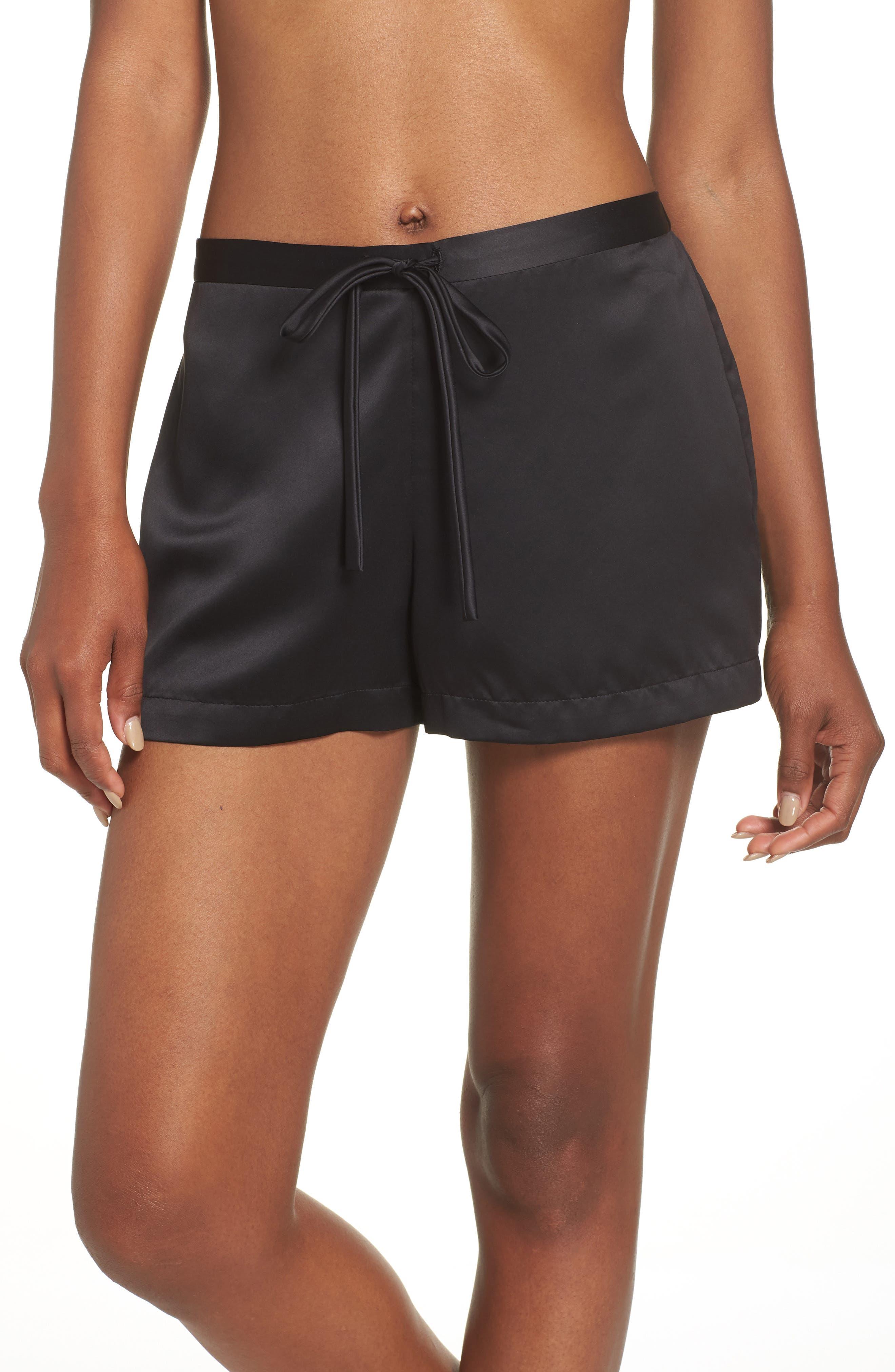 Natori Satin Elements Pajama Shorts, Black