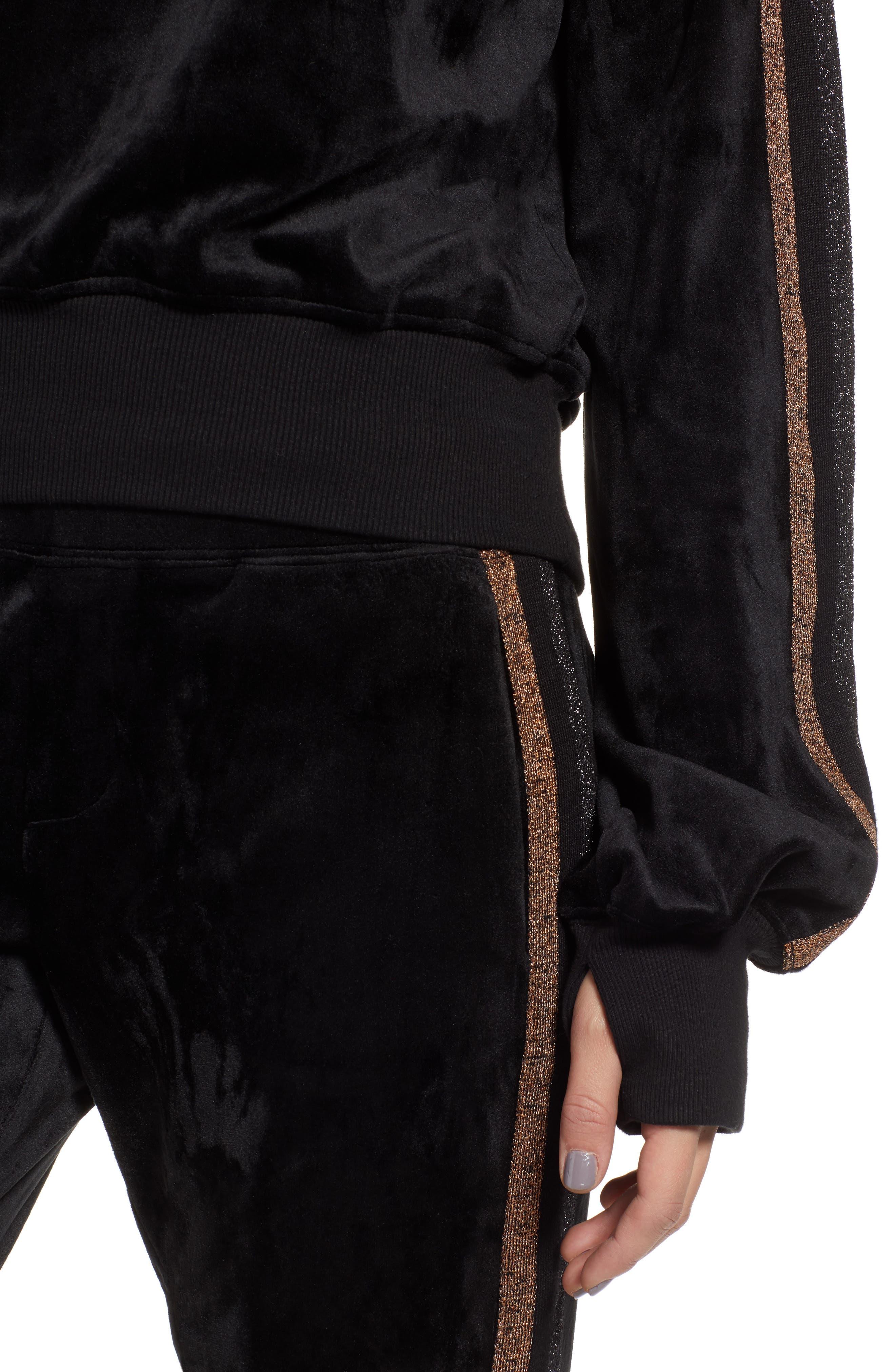 Crop Stripe Sleeve Sweatshirt,                             Alternate thumbnail 4, color,                             BLACK