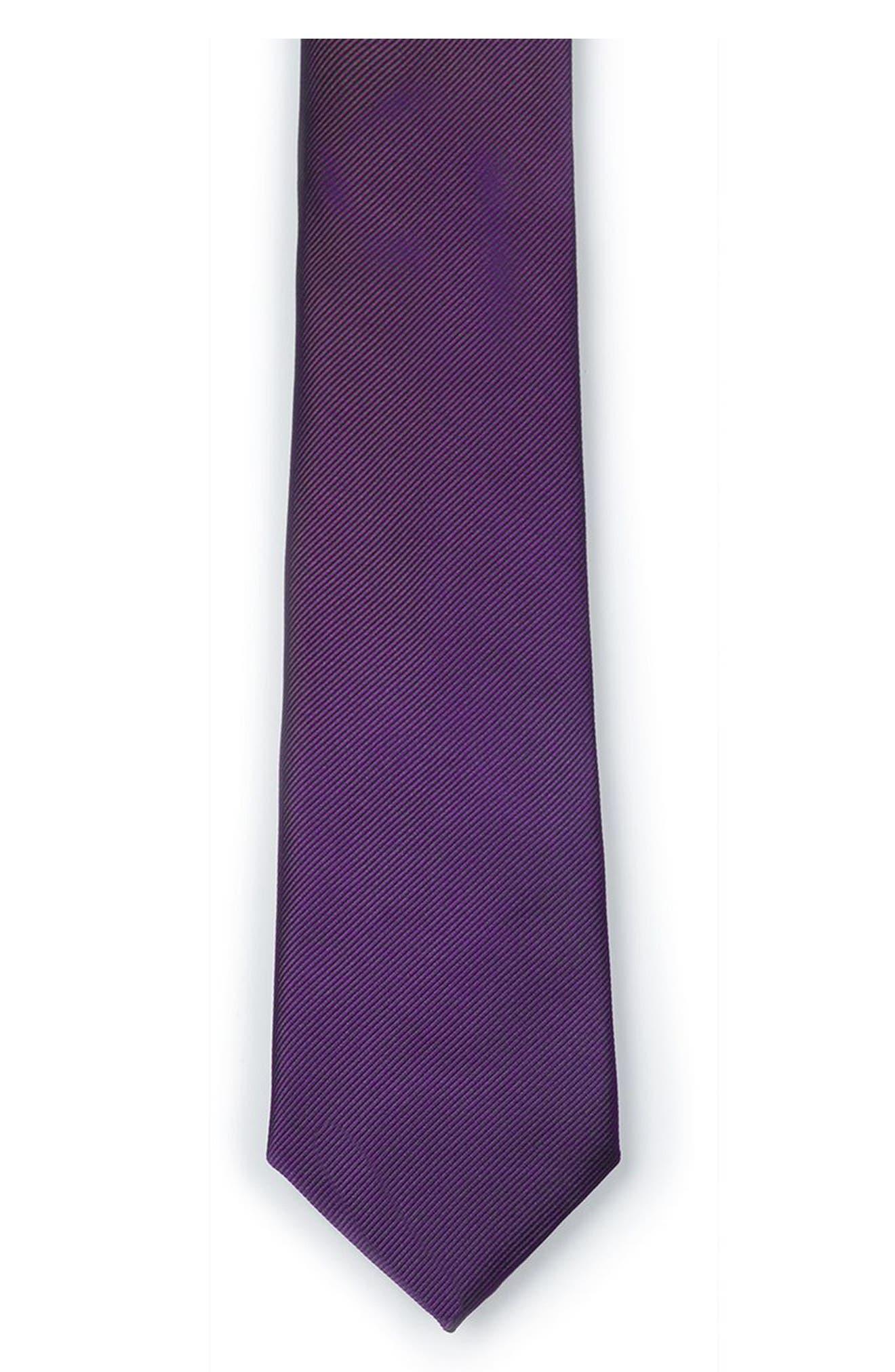 Purple Woven Tie,                             Alternate thumbnail 2, color,