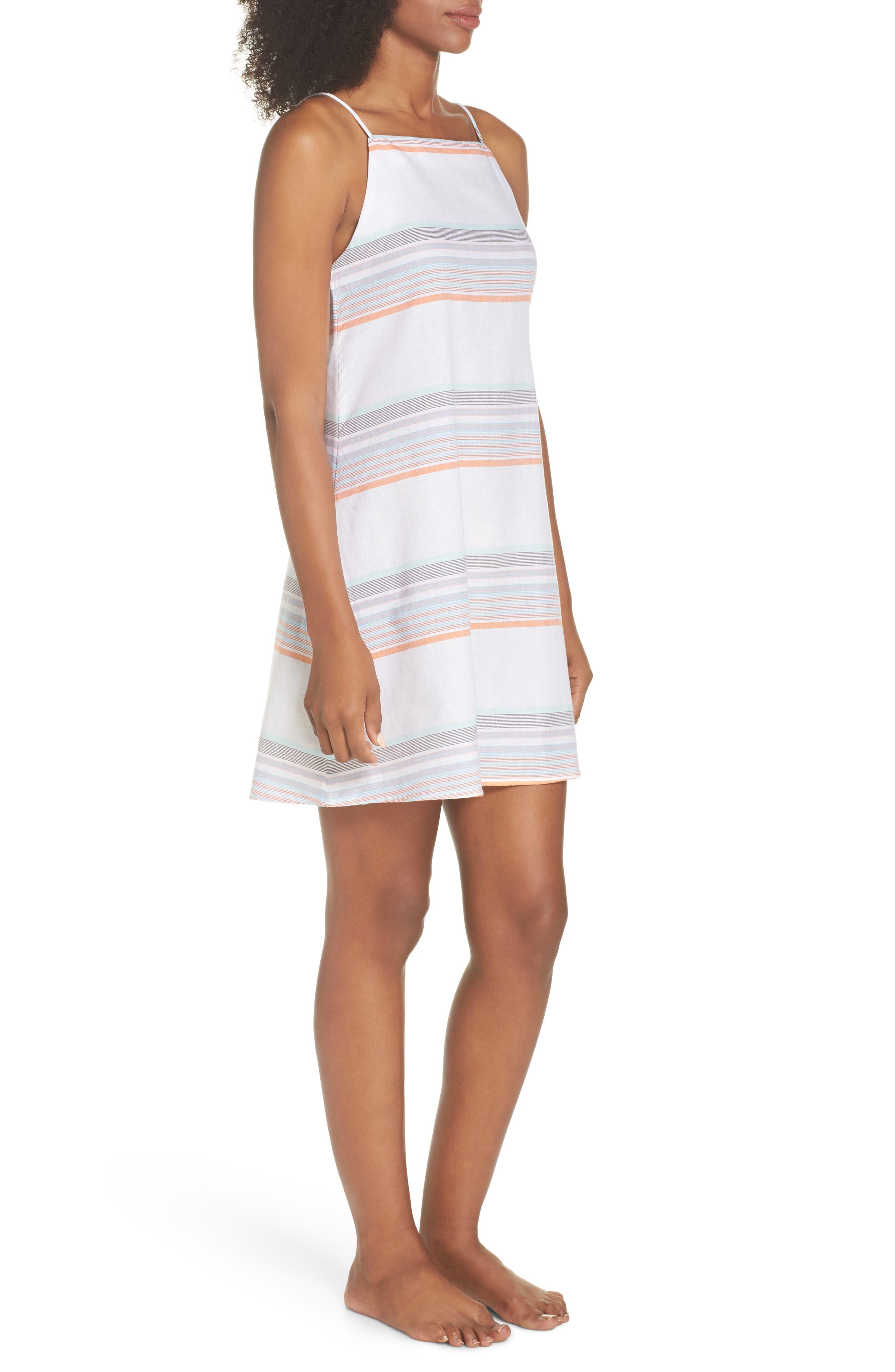 Sunset Stripe Cover-Up Dress,                             Alternate thumbnail 3, color,                             100