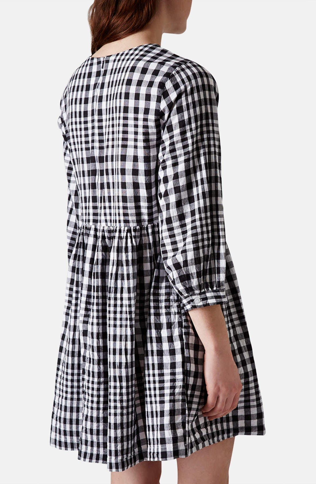 Gingham Cotton Smock Dress,                             Alternate thumbnail 4, color,                             002