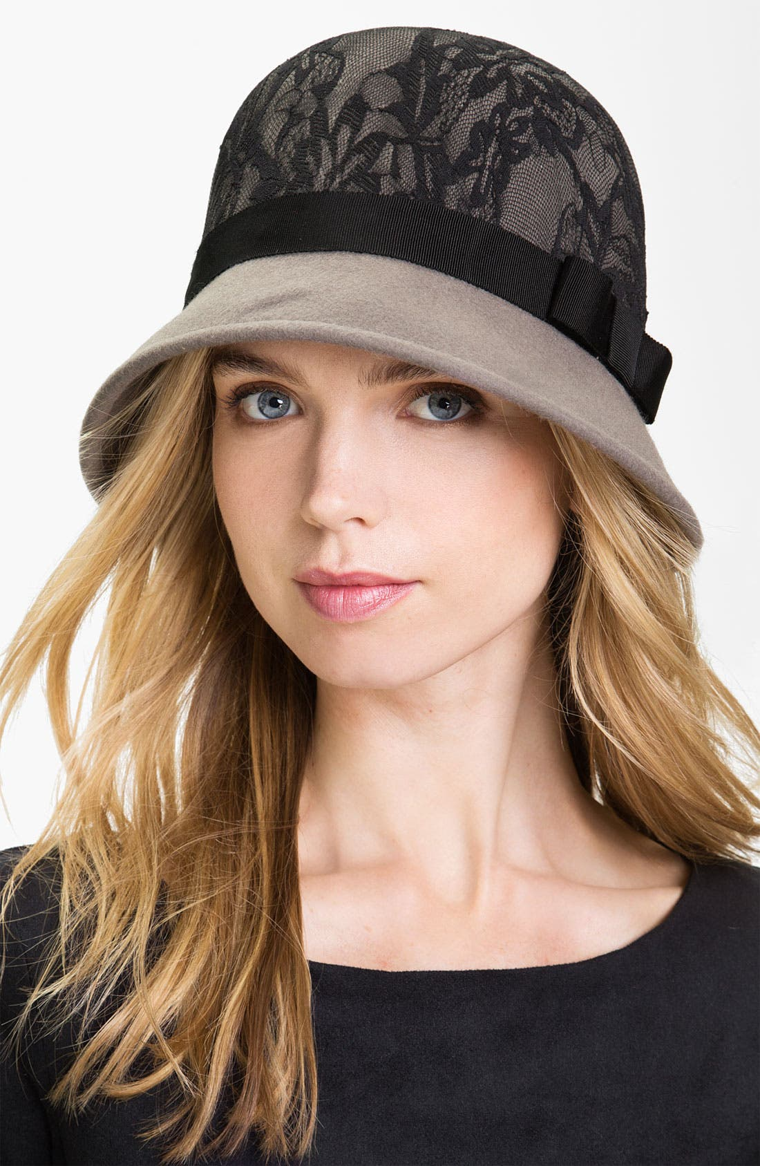 Lace & Wool Cloche,                         Main,                         color, 020