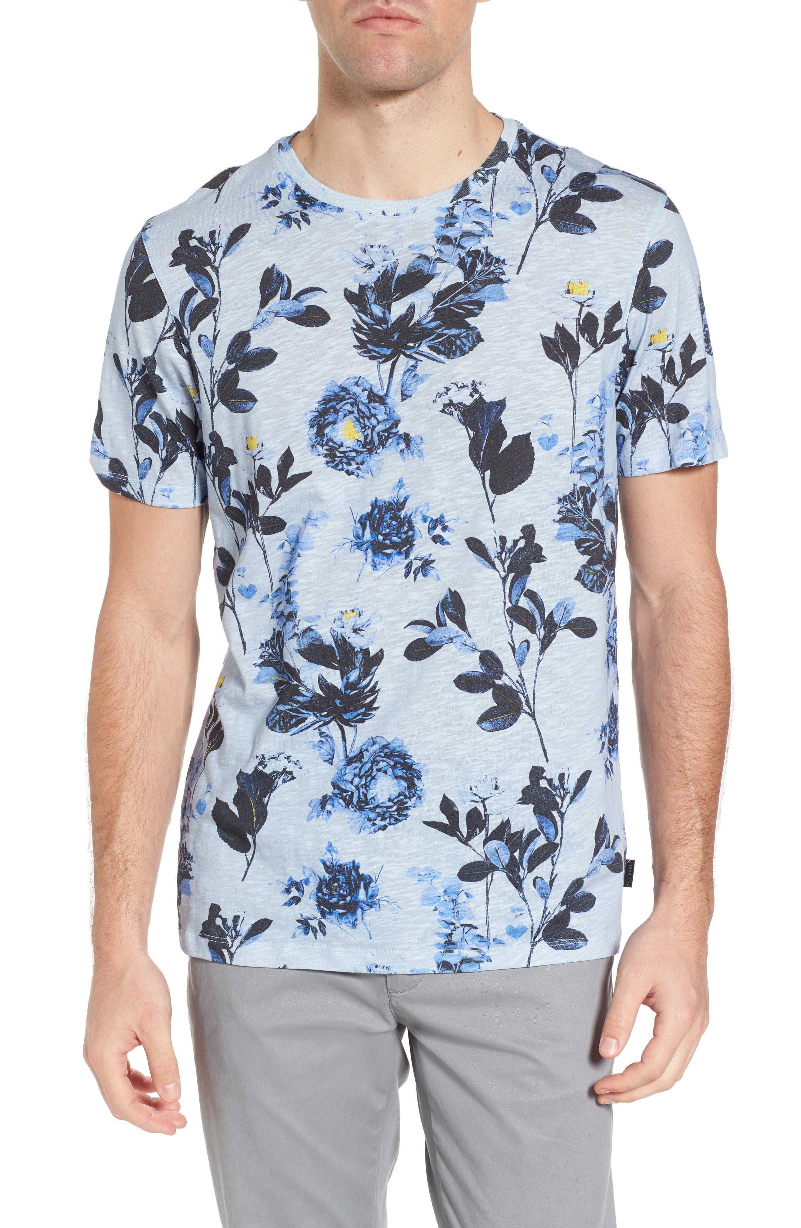 Doberma Trim Fit Floral Print T-Shirt,                             Main thumbnail 2, color,