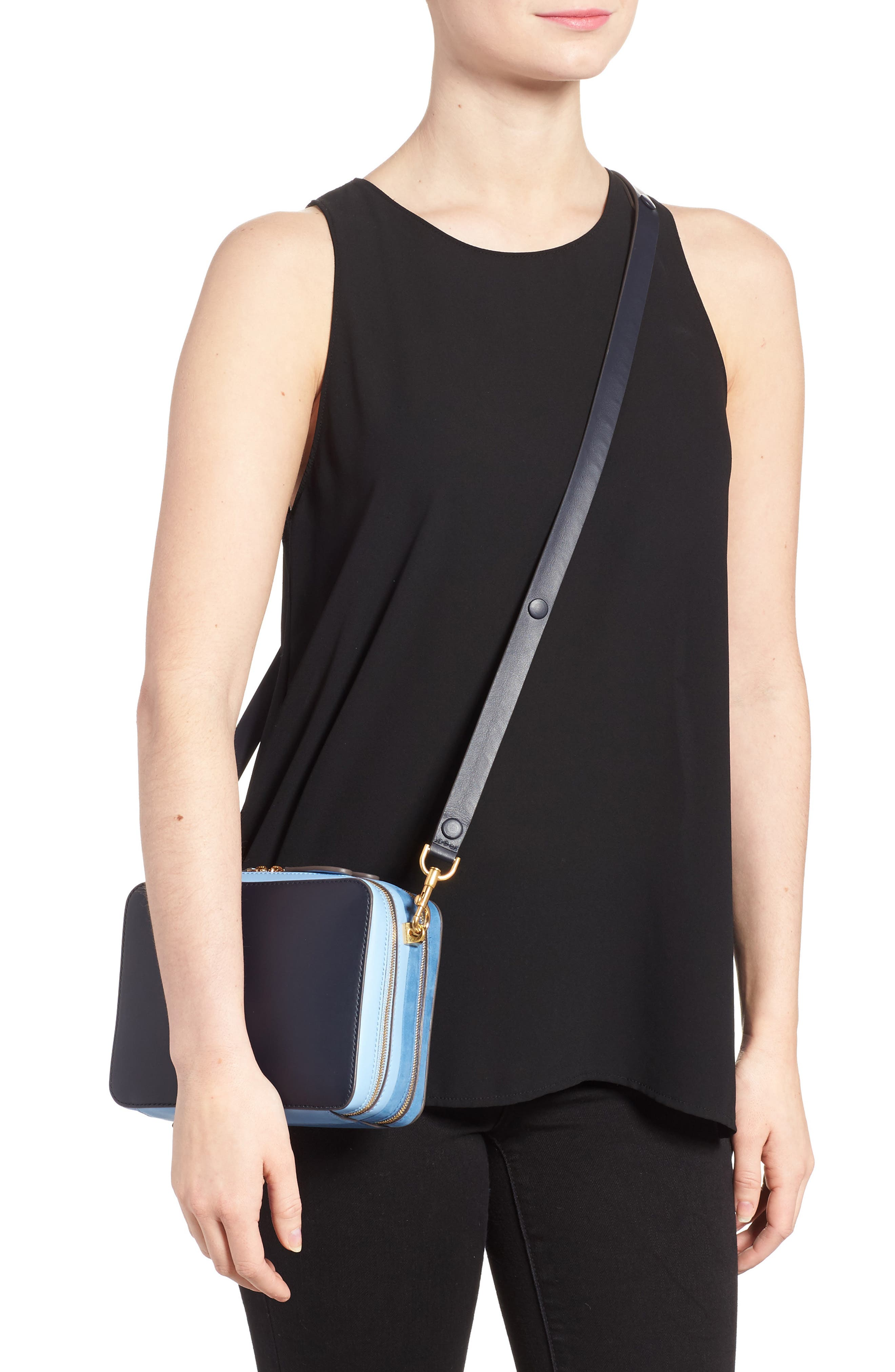 The Stack Leather Crossbody Bag,                             Alternate thumbnail 3, color,