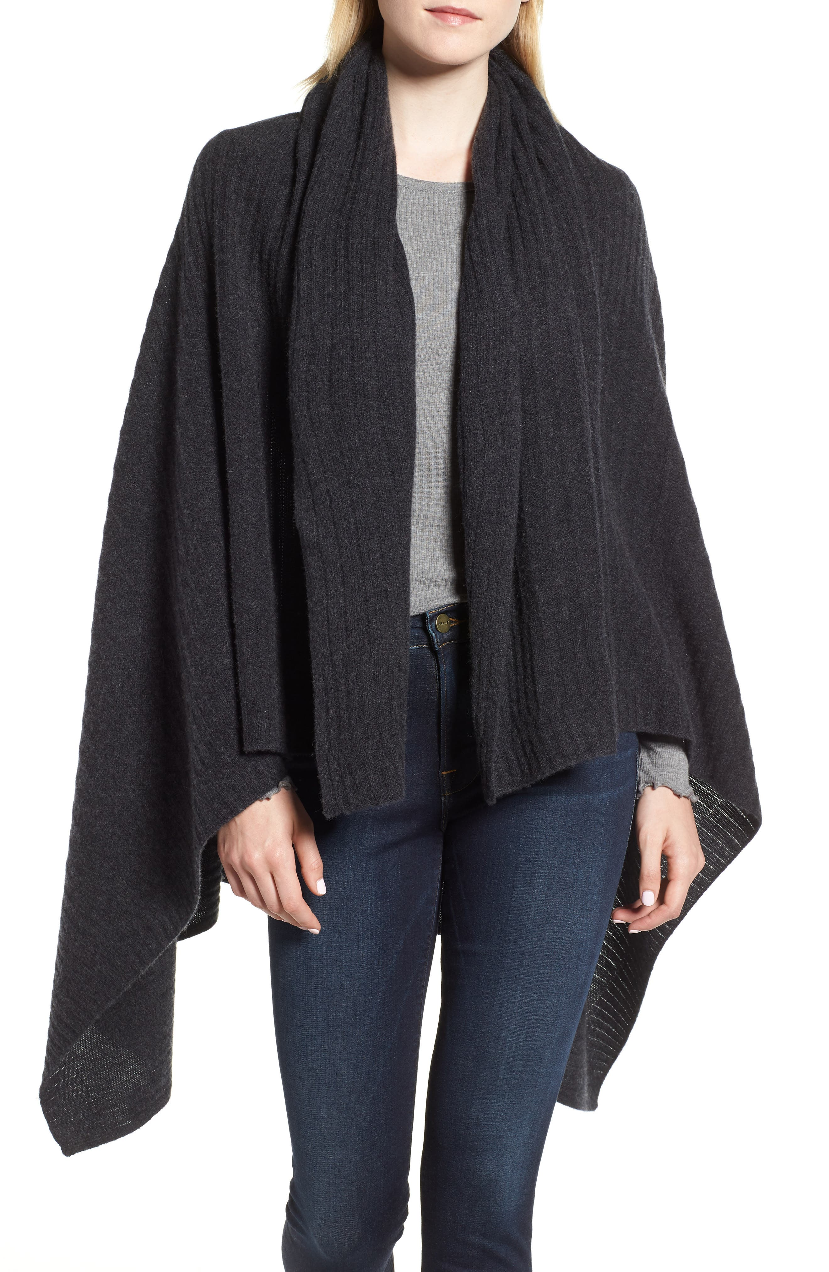 Ribbed Cashmere Wrap,                             Main thumbnail 1, color,                             001