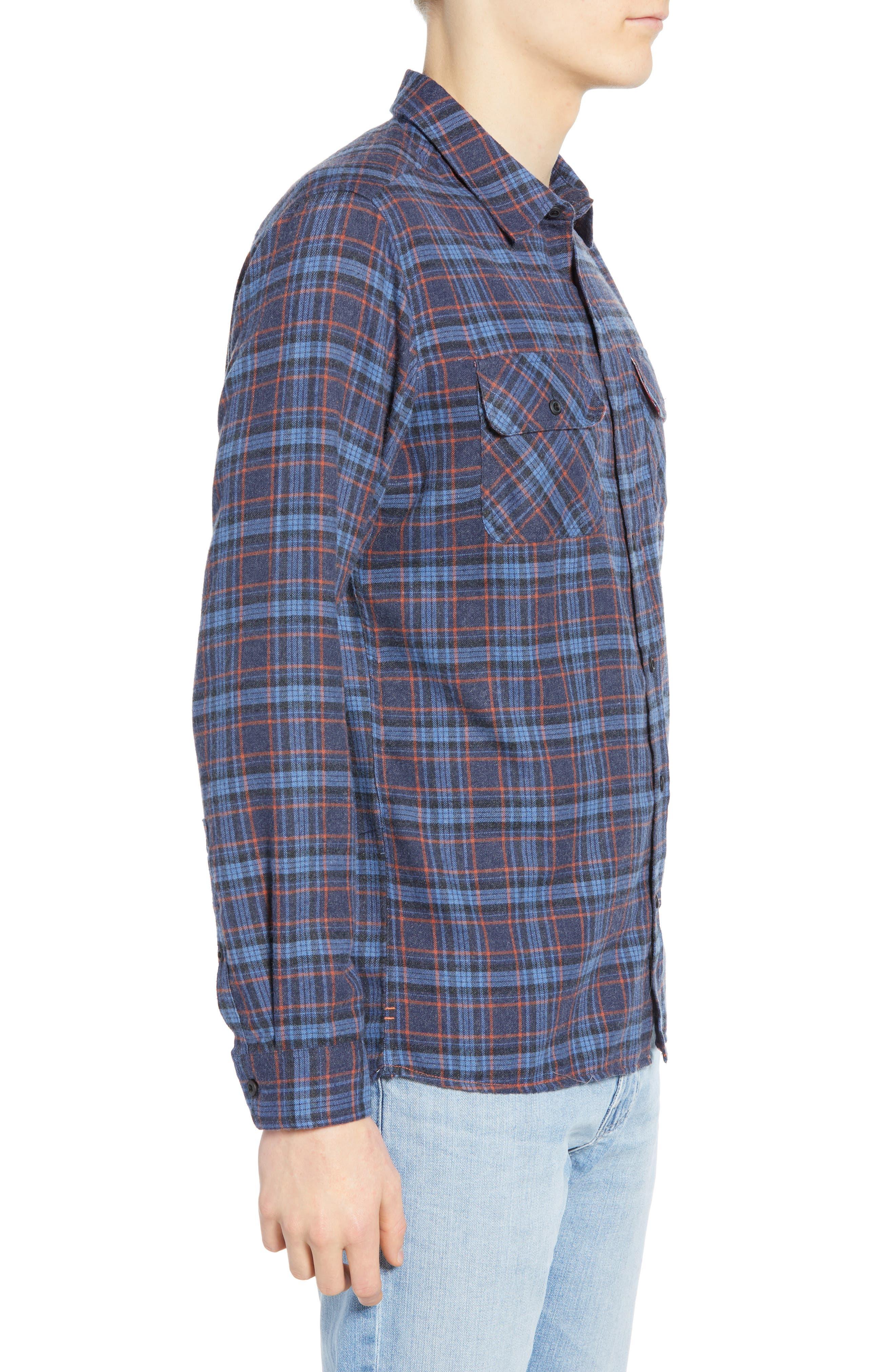 Walker Plaid Flannel Shirt,                             Alternate thumbnail 4, color,                             OIL GREY