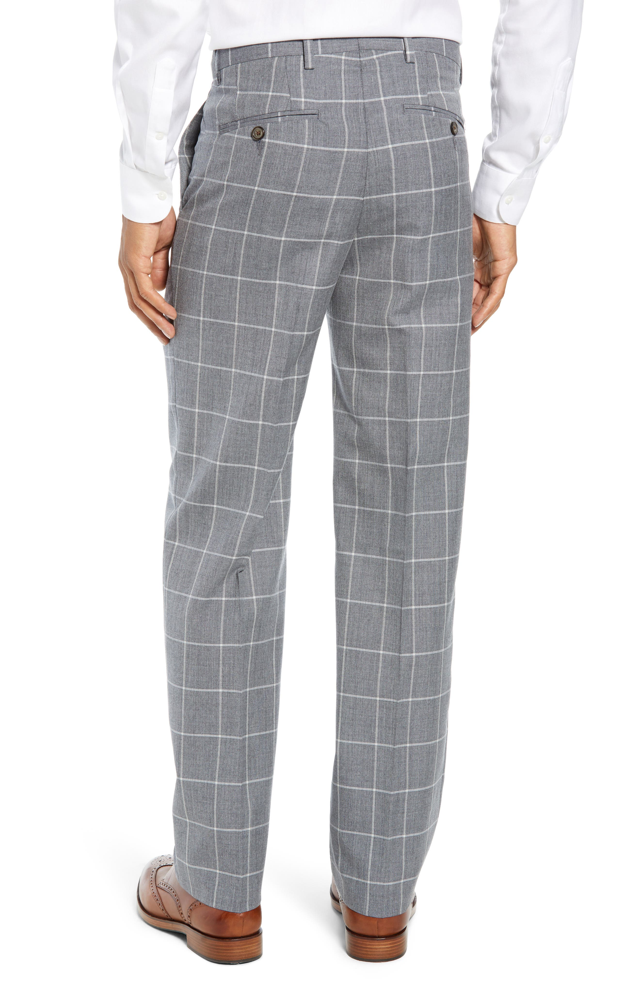 Manufacturing Flat Front Windowpane Wool Trousers,                             Alternate thumbnail 2, color,                             101
