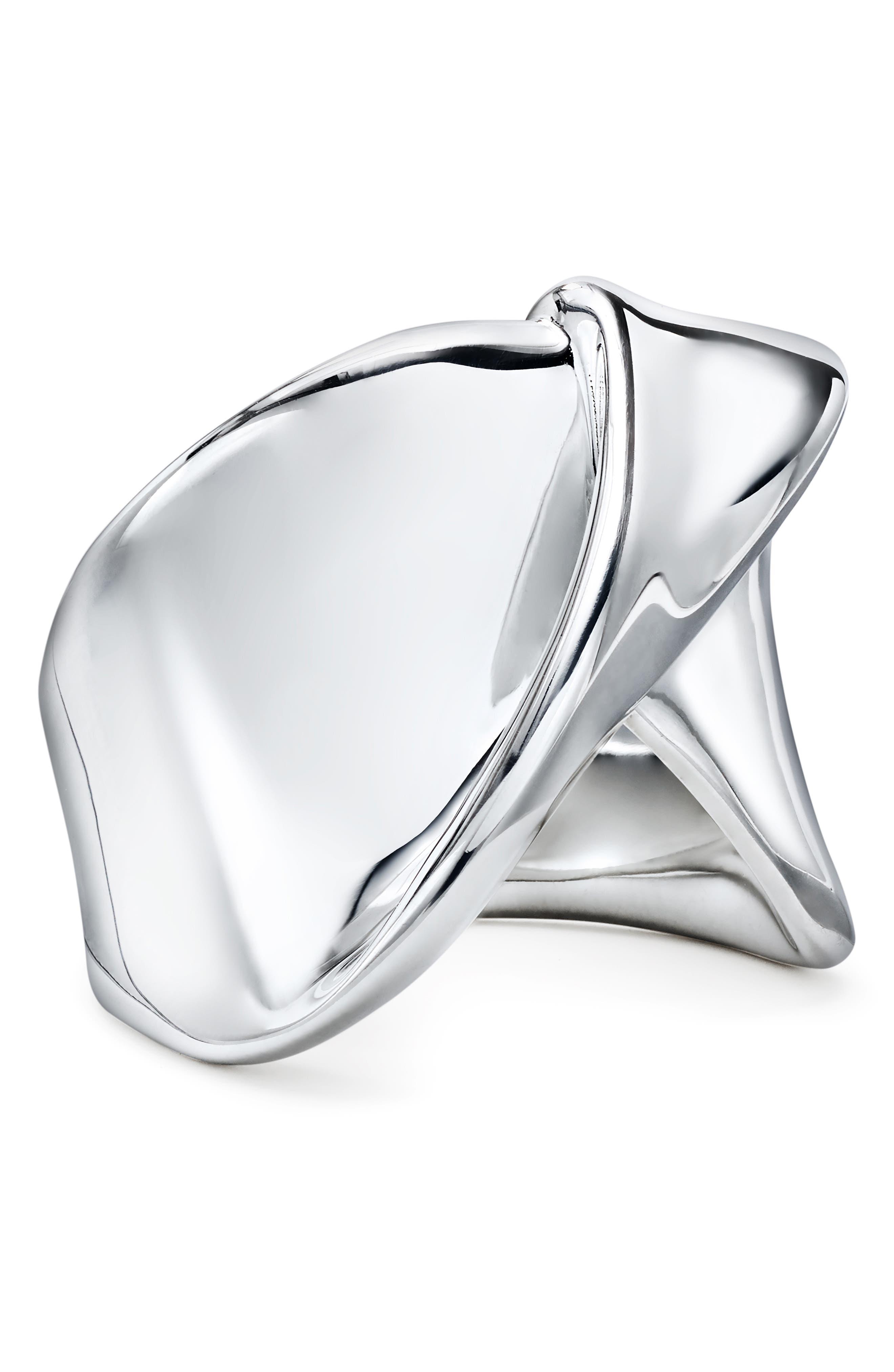 Classico Folded Ribbon Cocktail Ring,                             Main thumbnail 1, color,                             SILVER