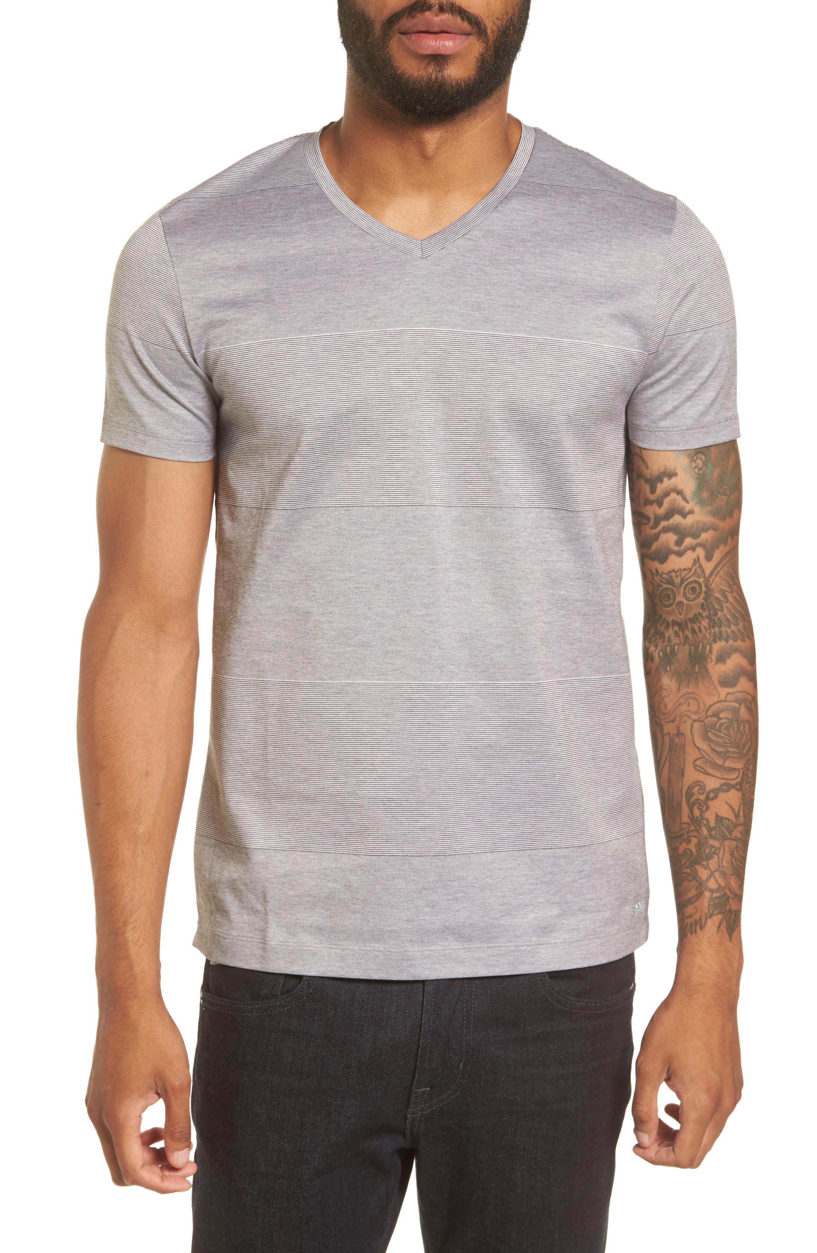 Slim Fit Stripe V-Neck T-Shirt,                             Main thumbnail 1, color,                             030
