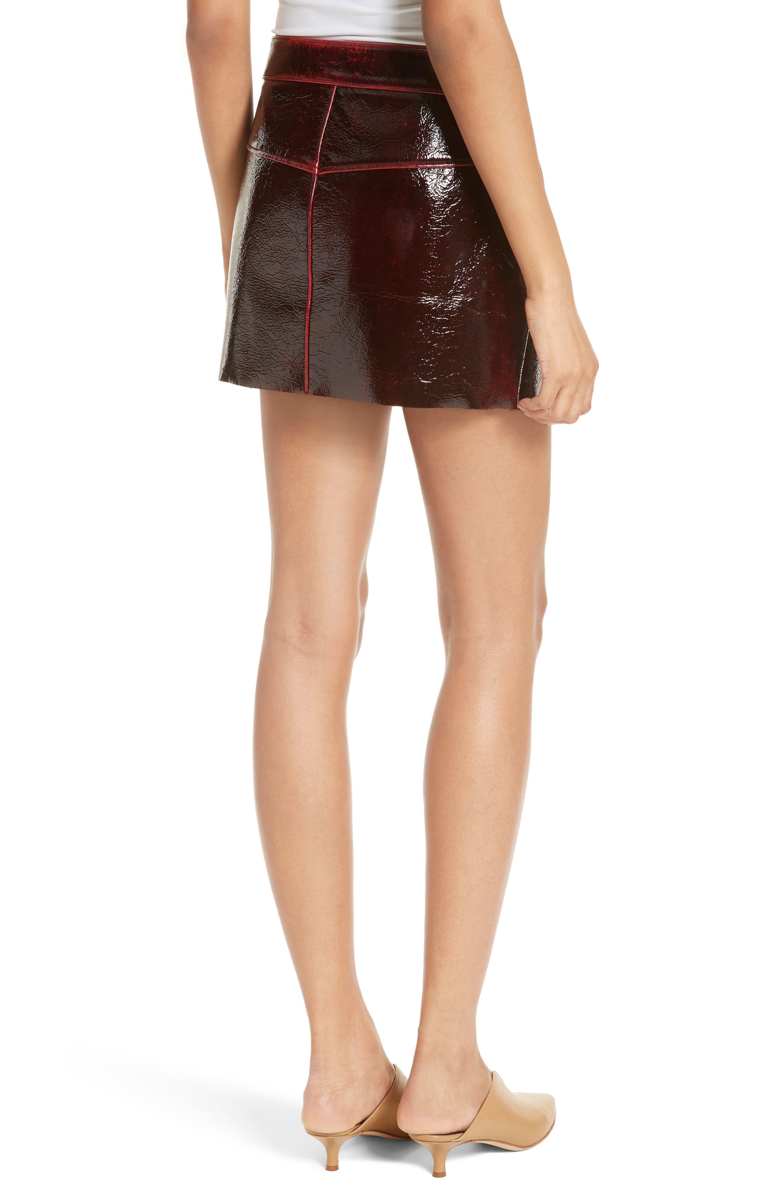 Patent Coated Wool Blend Miniskirt,                             Alternate thumbnail 2, color,                             651