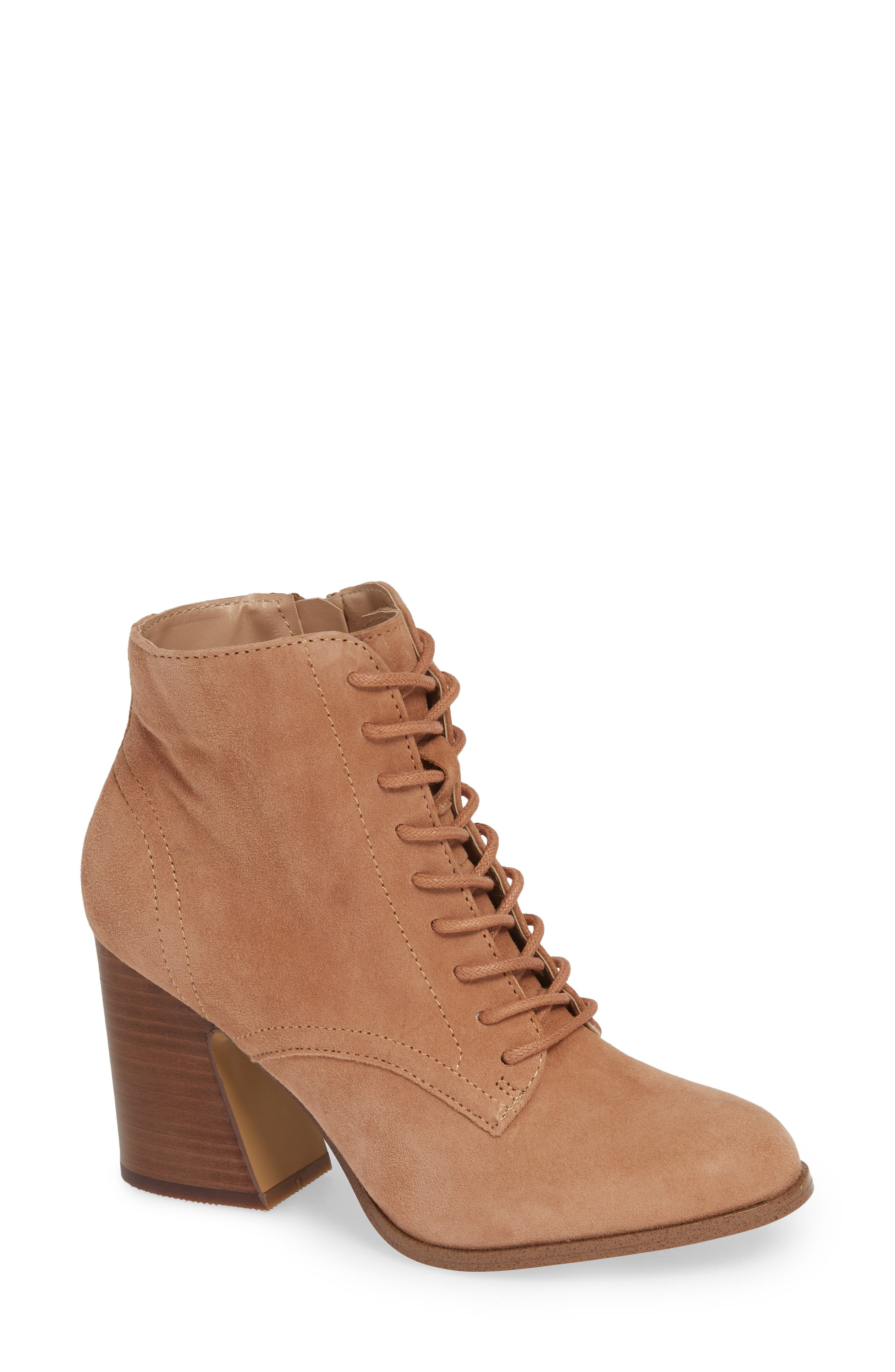 KENSIE Smith Lace-Up Bootie in Nude Suede