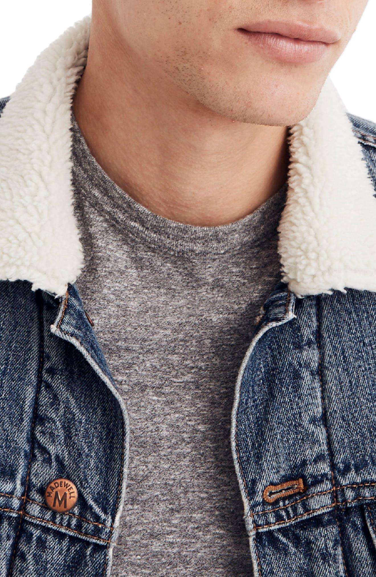Faux Fur Lined Jean Jacket,                             Alternate thumbnail 4, color,                             INDIGO