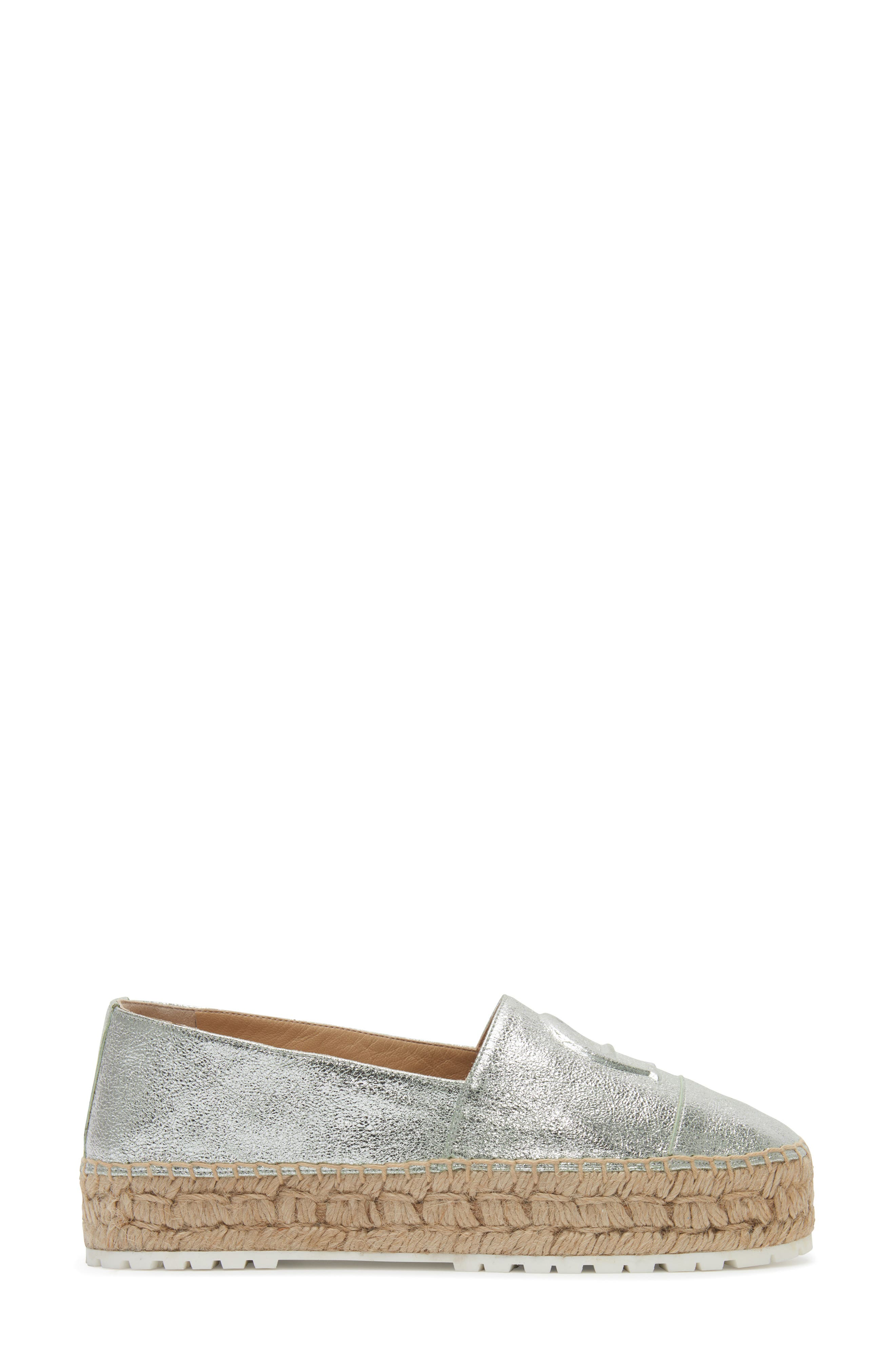 Wade Platform Espadrille,                             Alternate thumbnail 2, color,                             SILVER LEATHER