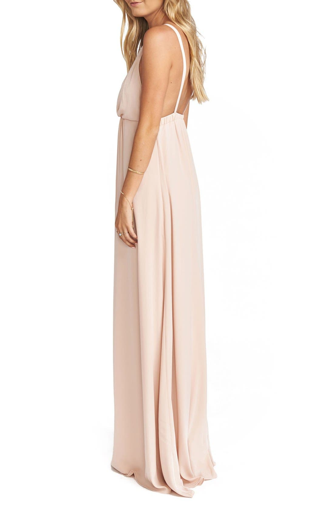 Amanda Open Back Blouson Gown,                             Alternate thumbnail 18, color,