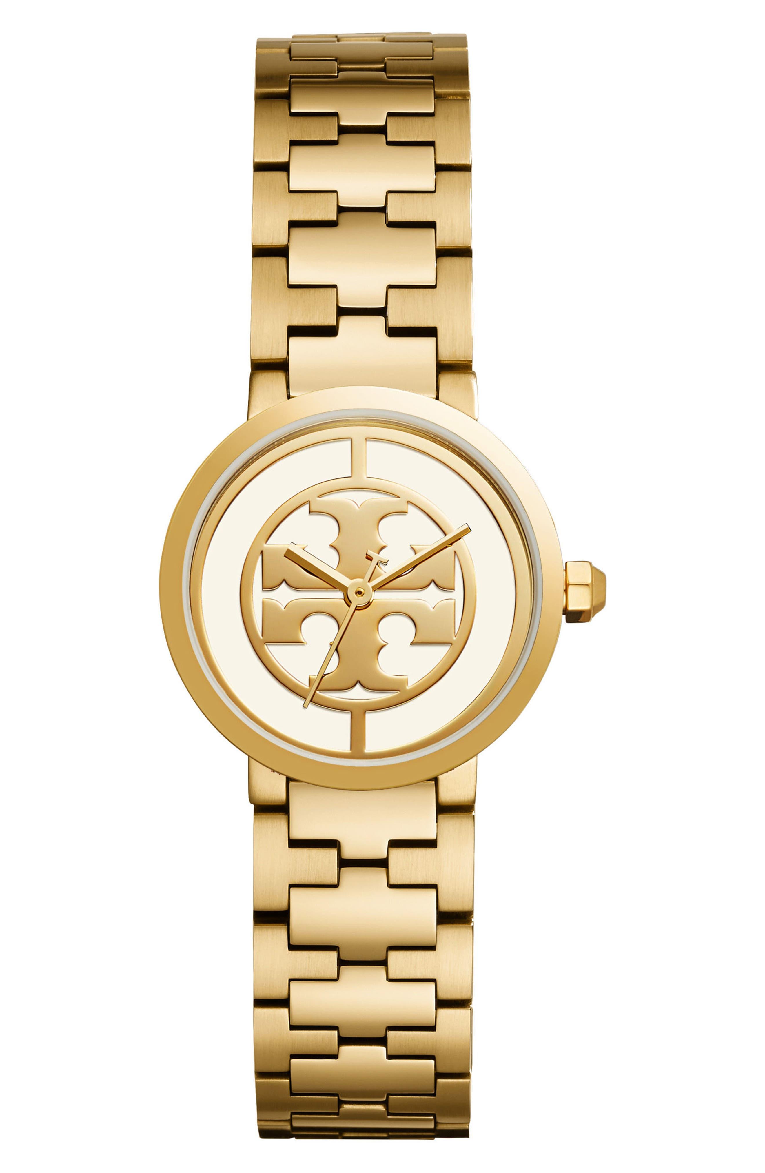 TORY BURCH Reva Logo Dial Bracelet Watch, 28mm, Main, color, GOLD/ IVORY/ GOLD
