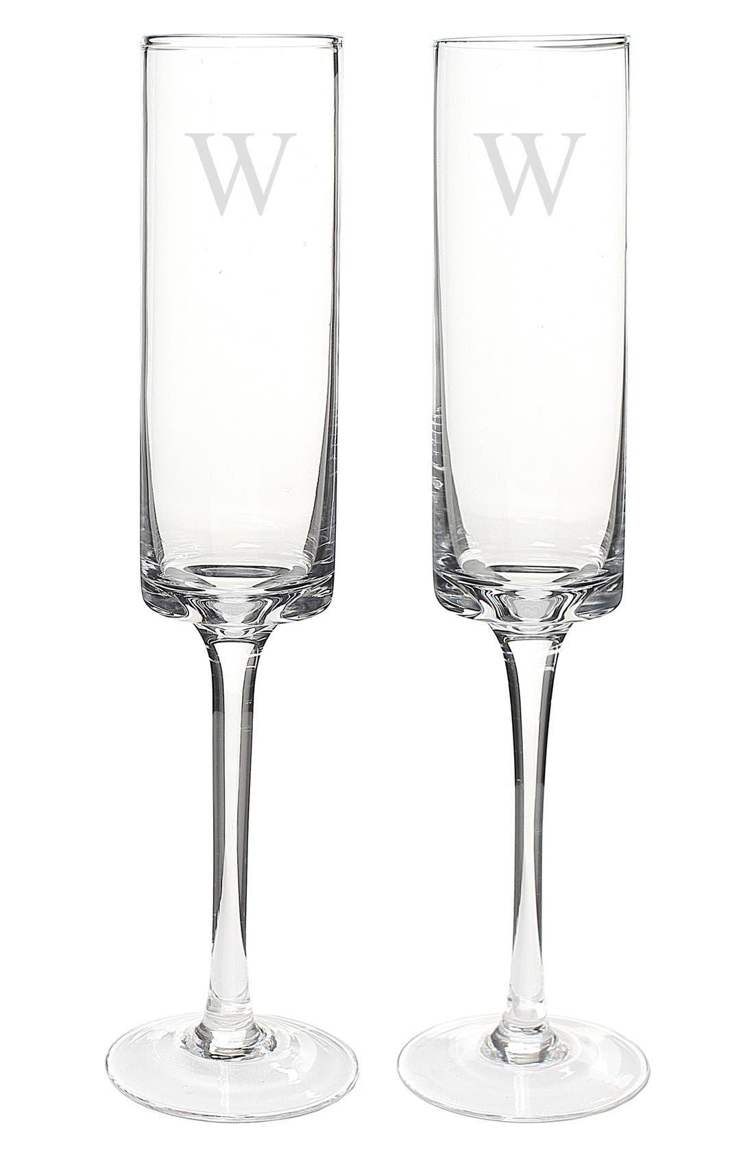 'Contemporary' Monogram Champagne Flutes,                             Alternate thumbnail 2, color,                             123