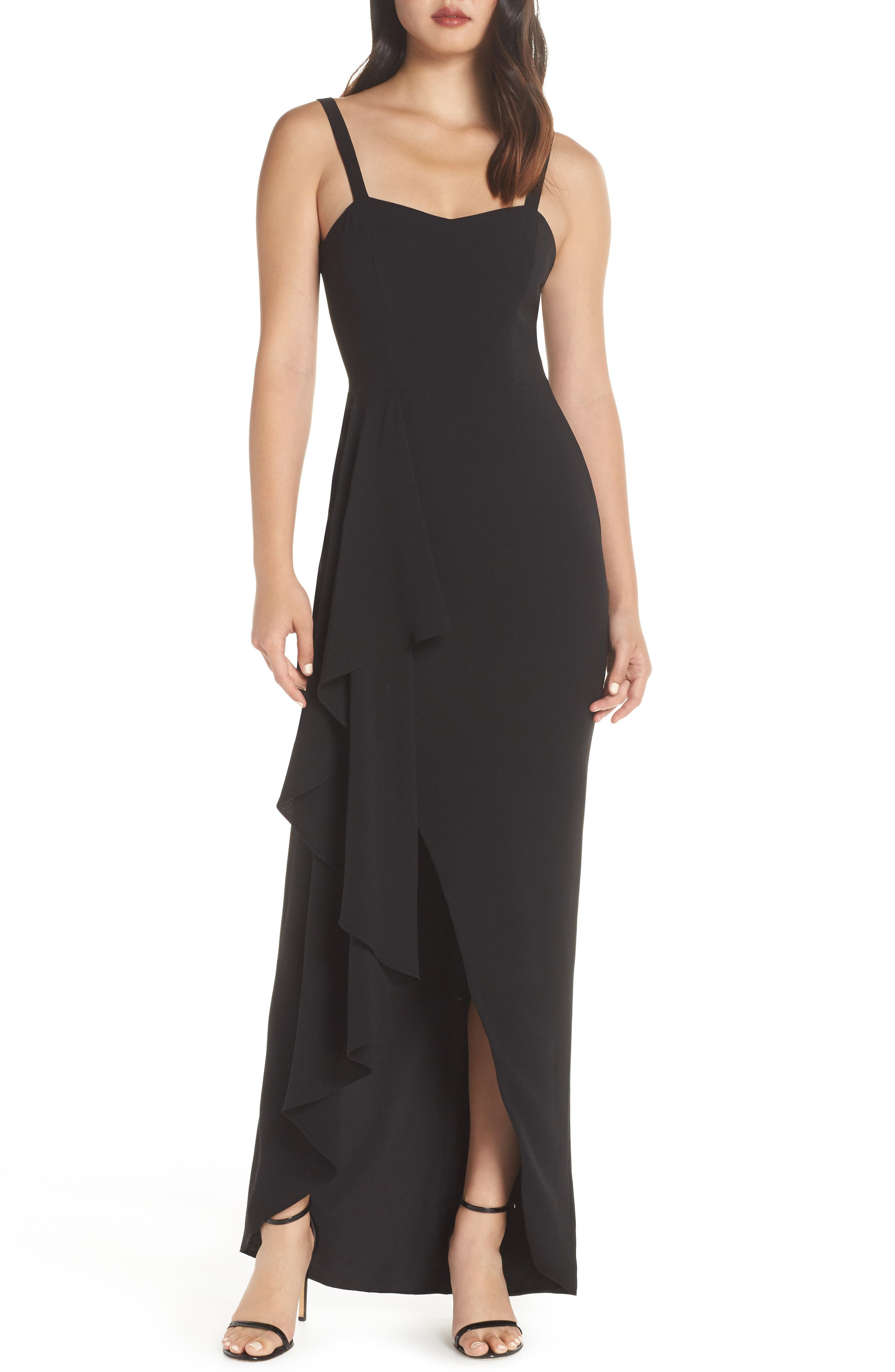 Dress The Population Cora Sleeveless Waterfall Crepe Gown, Black