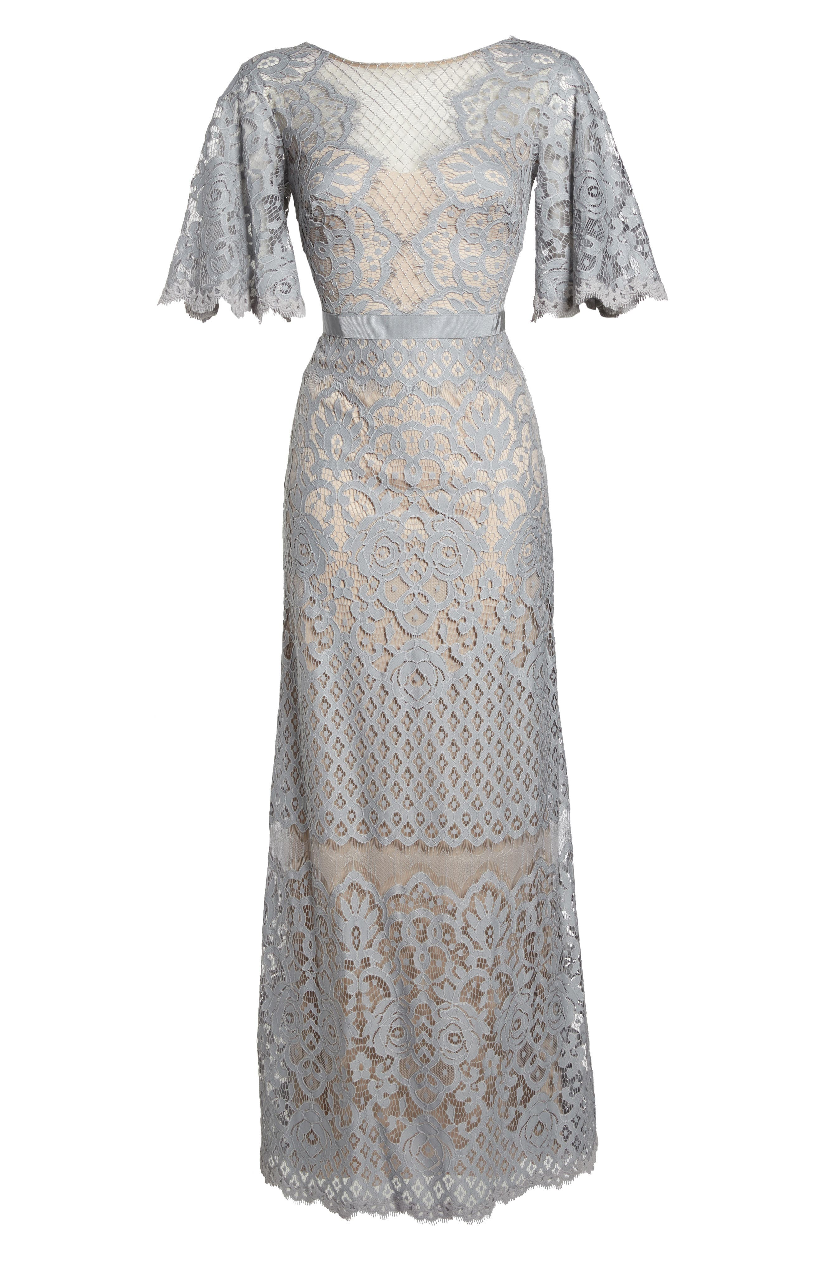 Malina Flutter Sleeve Lace Gown,                             Alternate thumbnail 6, color,                             020
