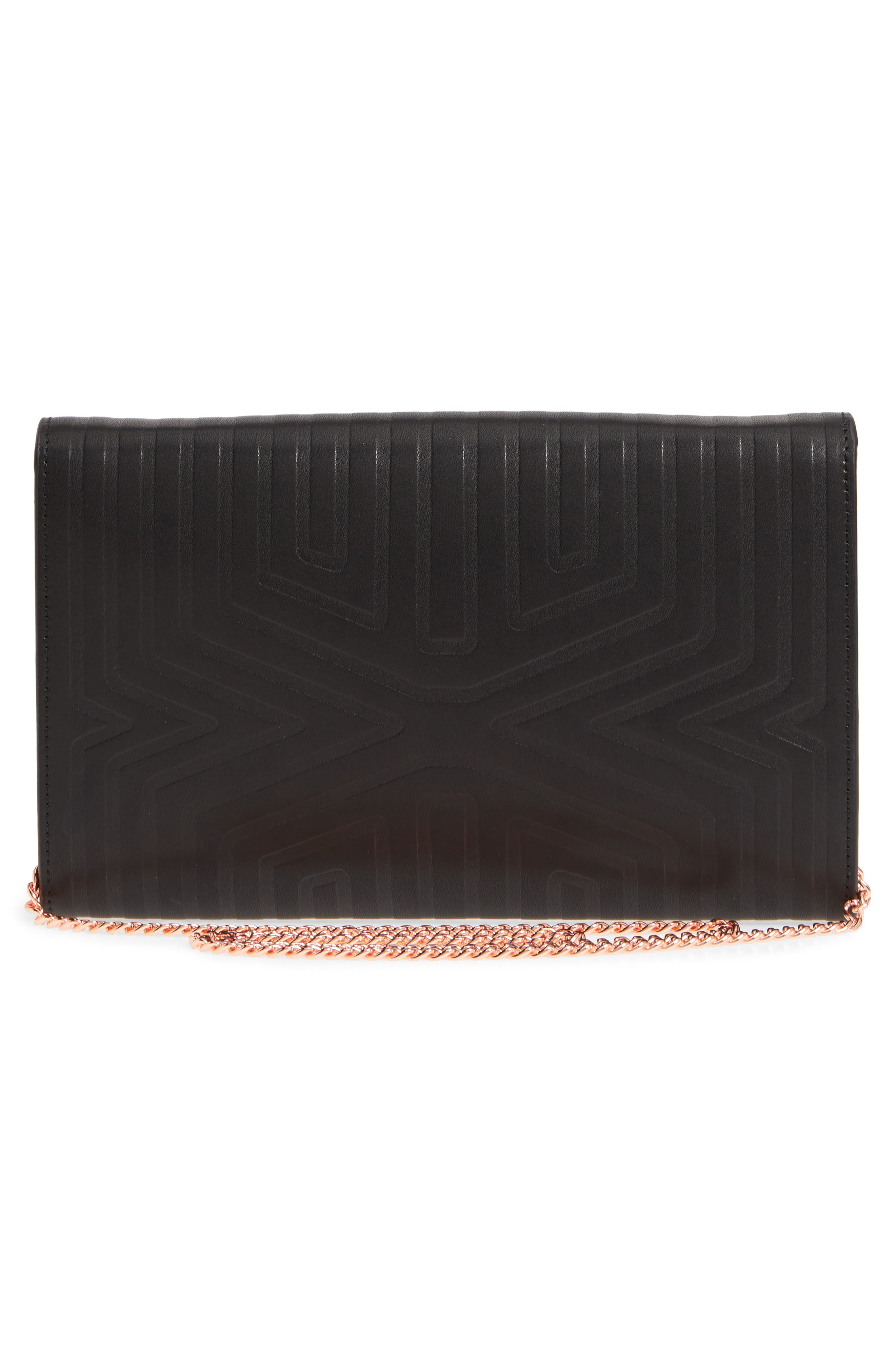 Jenaa Embossed Bow Leather Clutch,                             Alternate thumbnail 3, color,