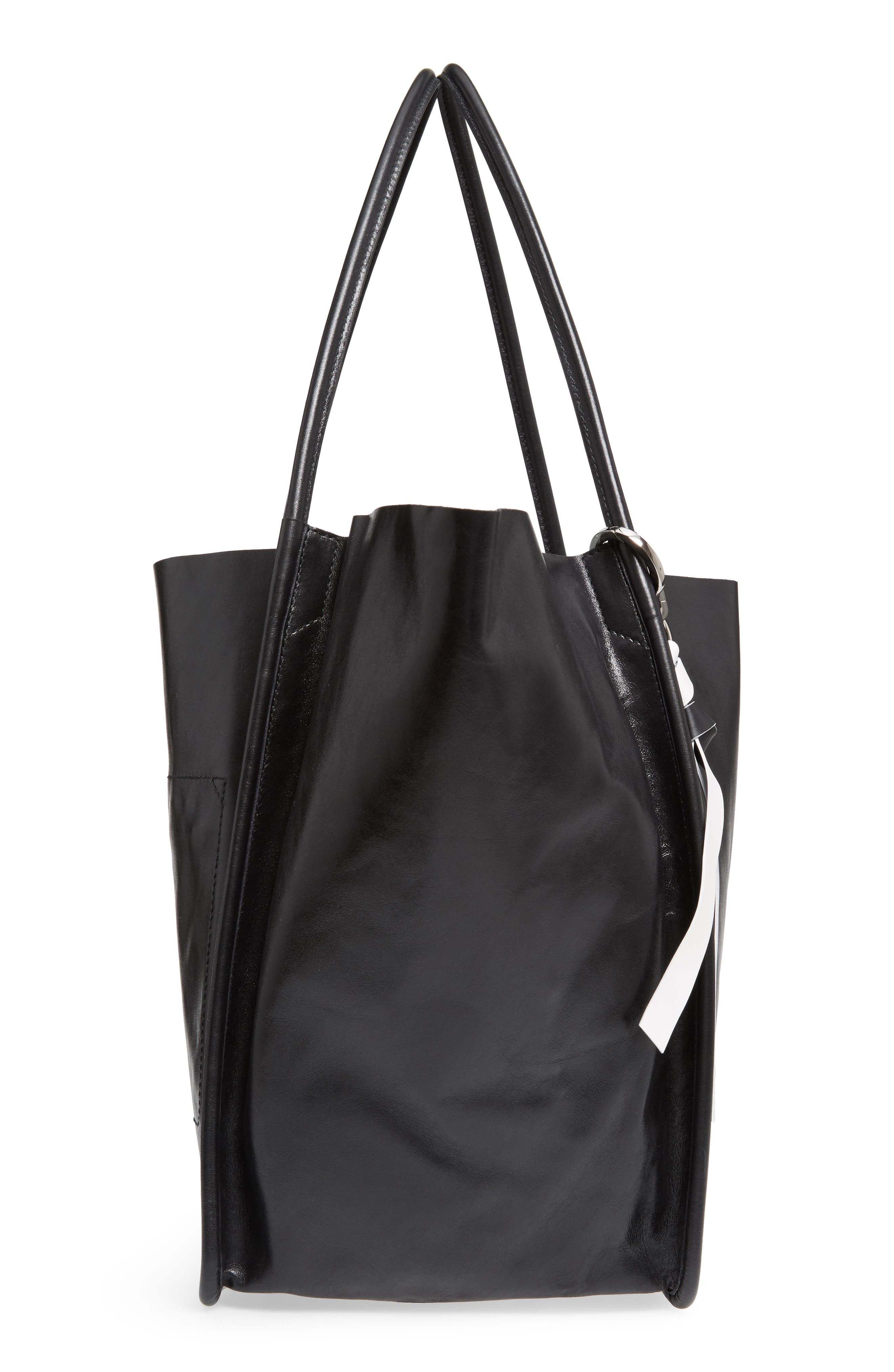 Extra Large Leather Tote,                             Alternate thumbnail 5, color,                             BLACK