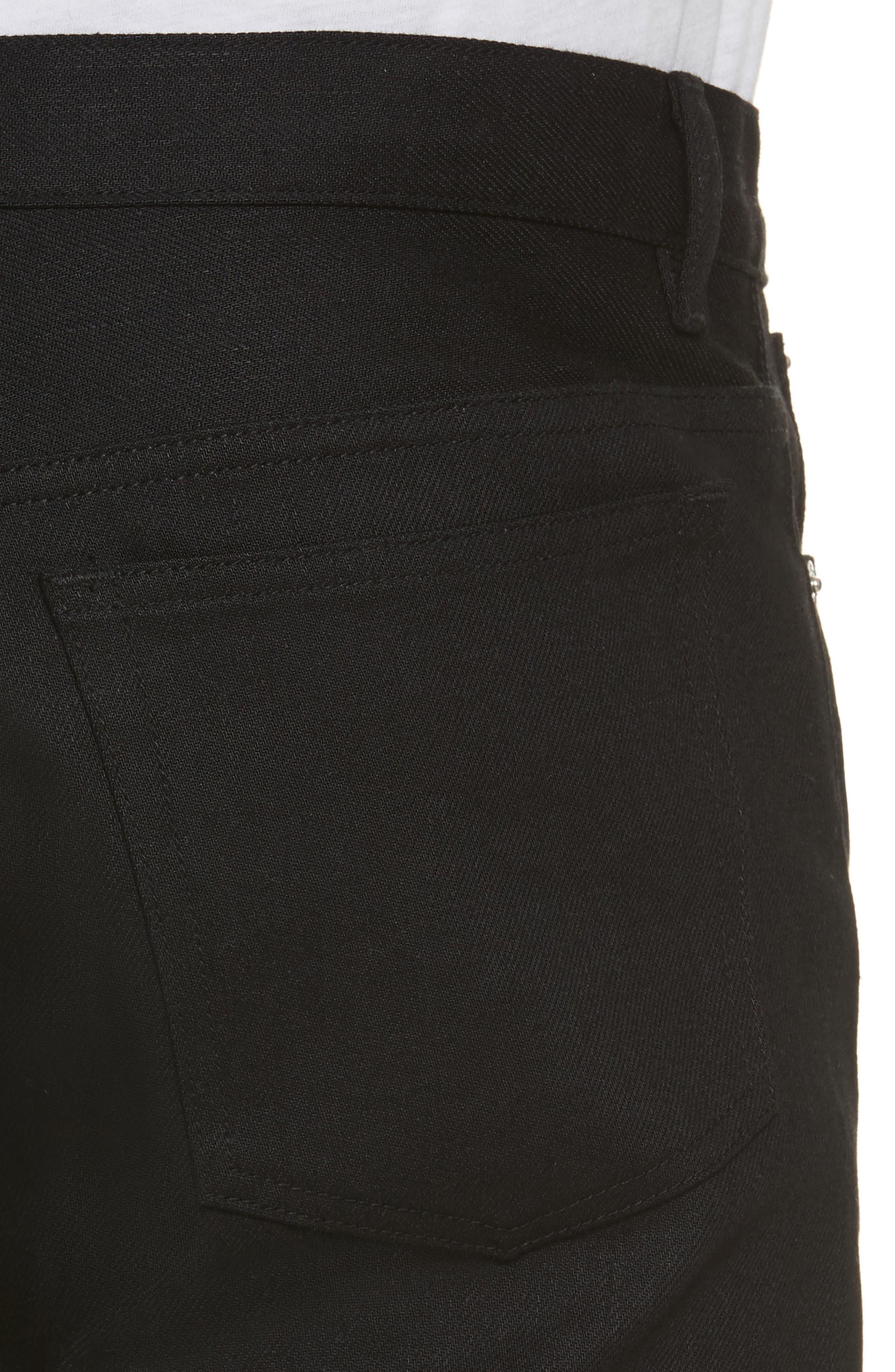 Petit New Standard Stretch Skinny Fit Jeans,                             Alternate thumbnail 4, color,                             BLACK