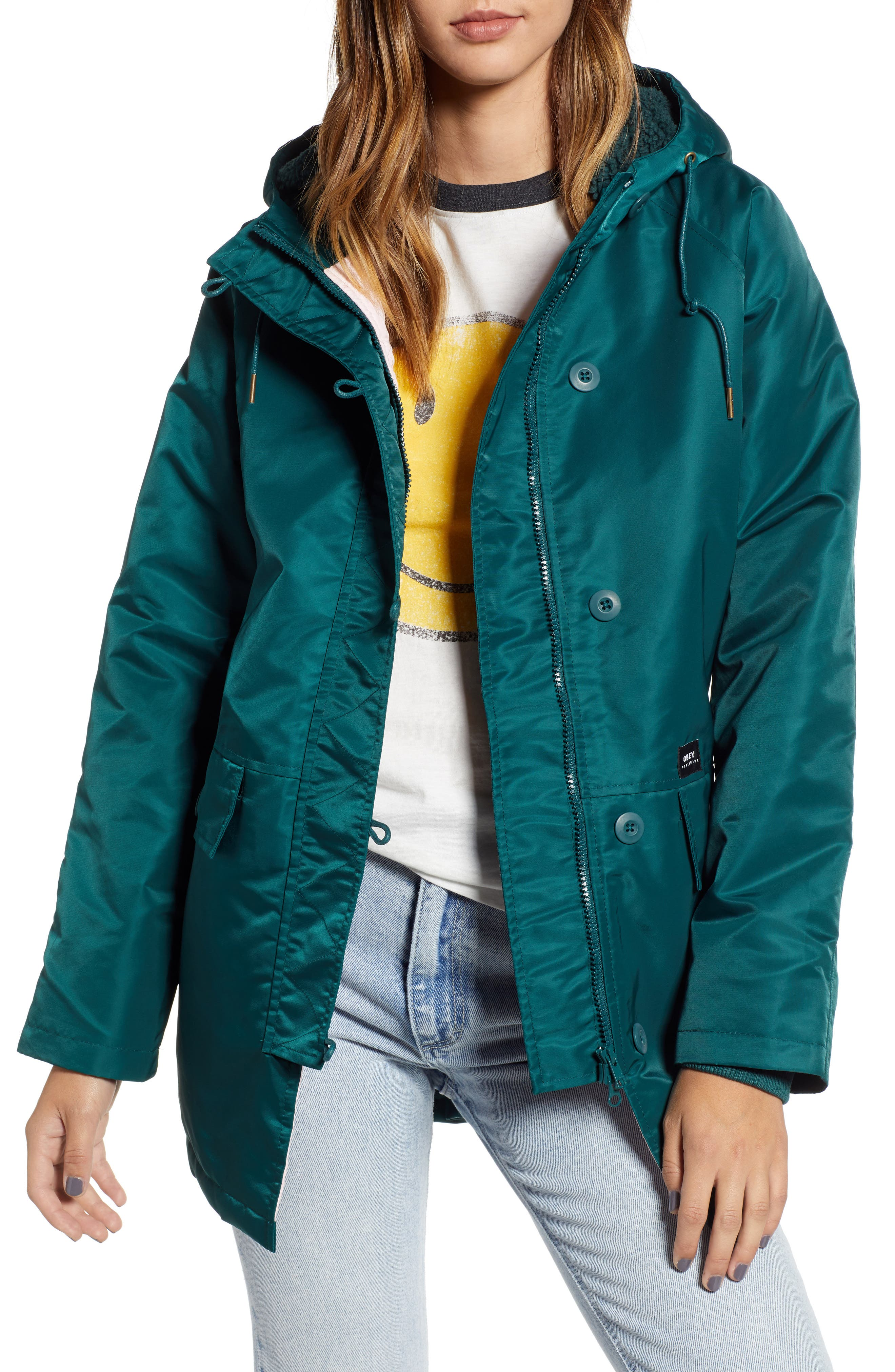 OBEY Foxtrot Water Resistant Parka, Main, color, SAGE