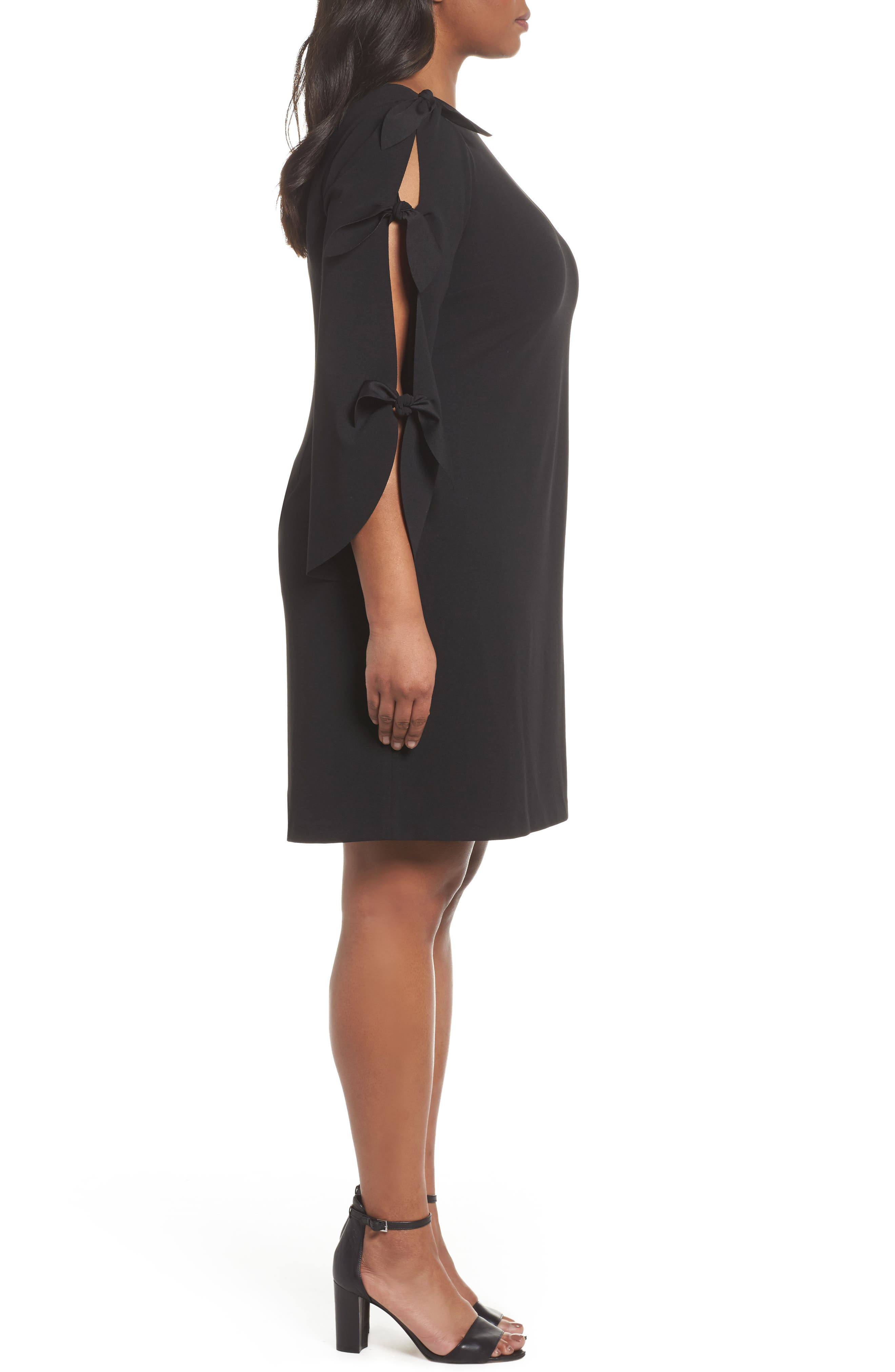 Tie Bell Sleeve Ponte Shift Dress,                             Alternate thumbnail 3, color,                             001