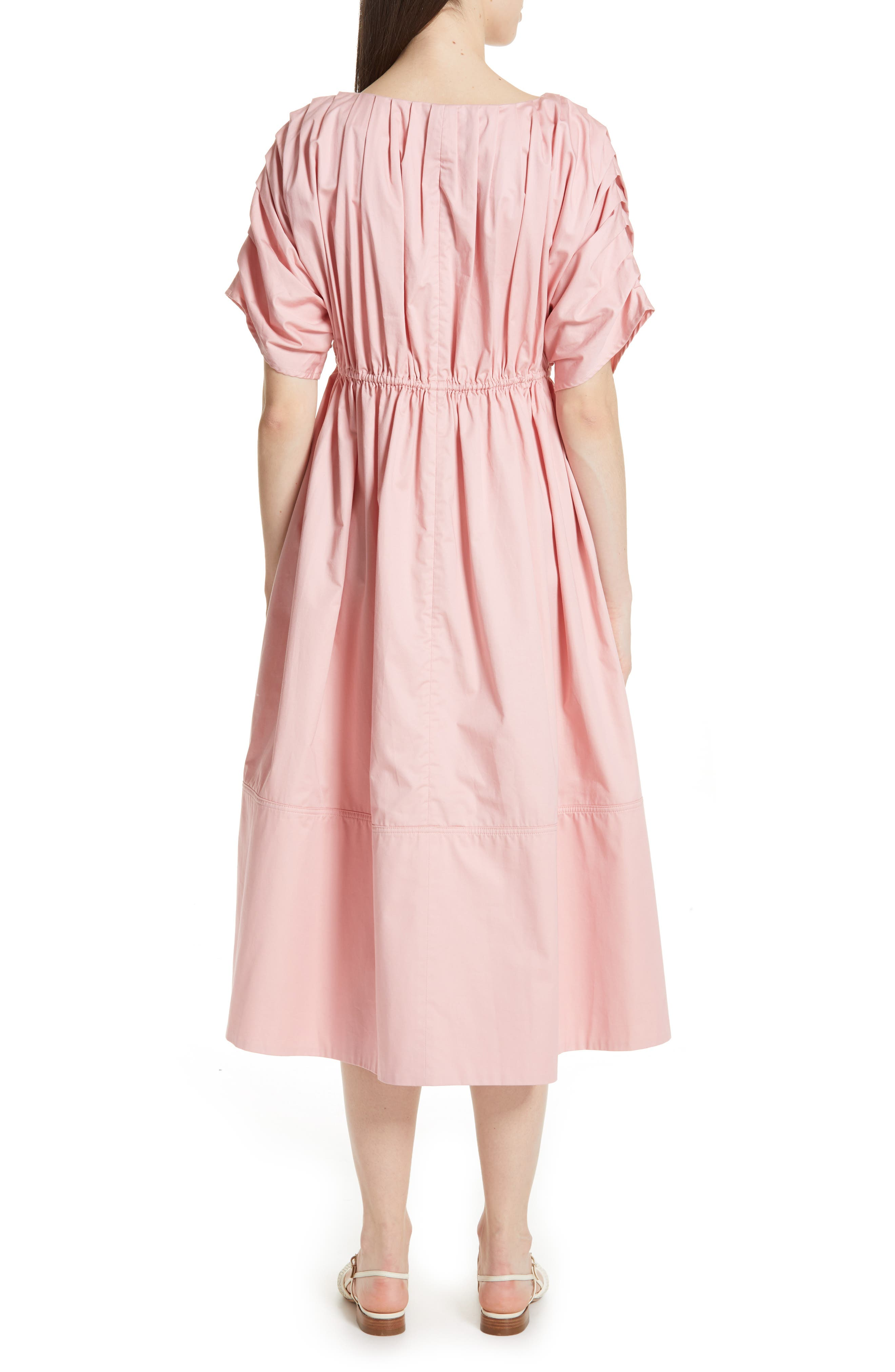 Pleated Cotton Midi Dress,                             Alternate thumbnail 2, color,                             PINK
