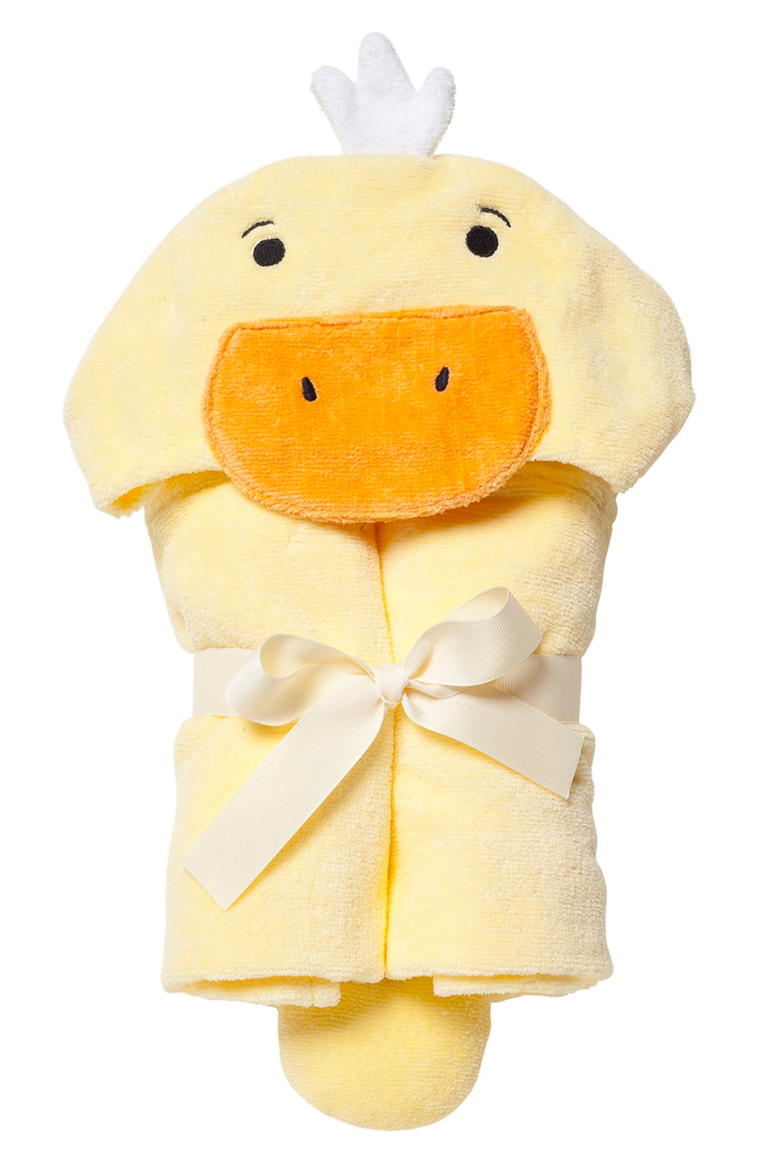 Terry Velour Hooded Duck Towel,                         Main,                         color, DUCK
