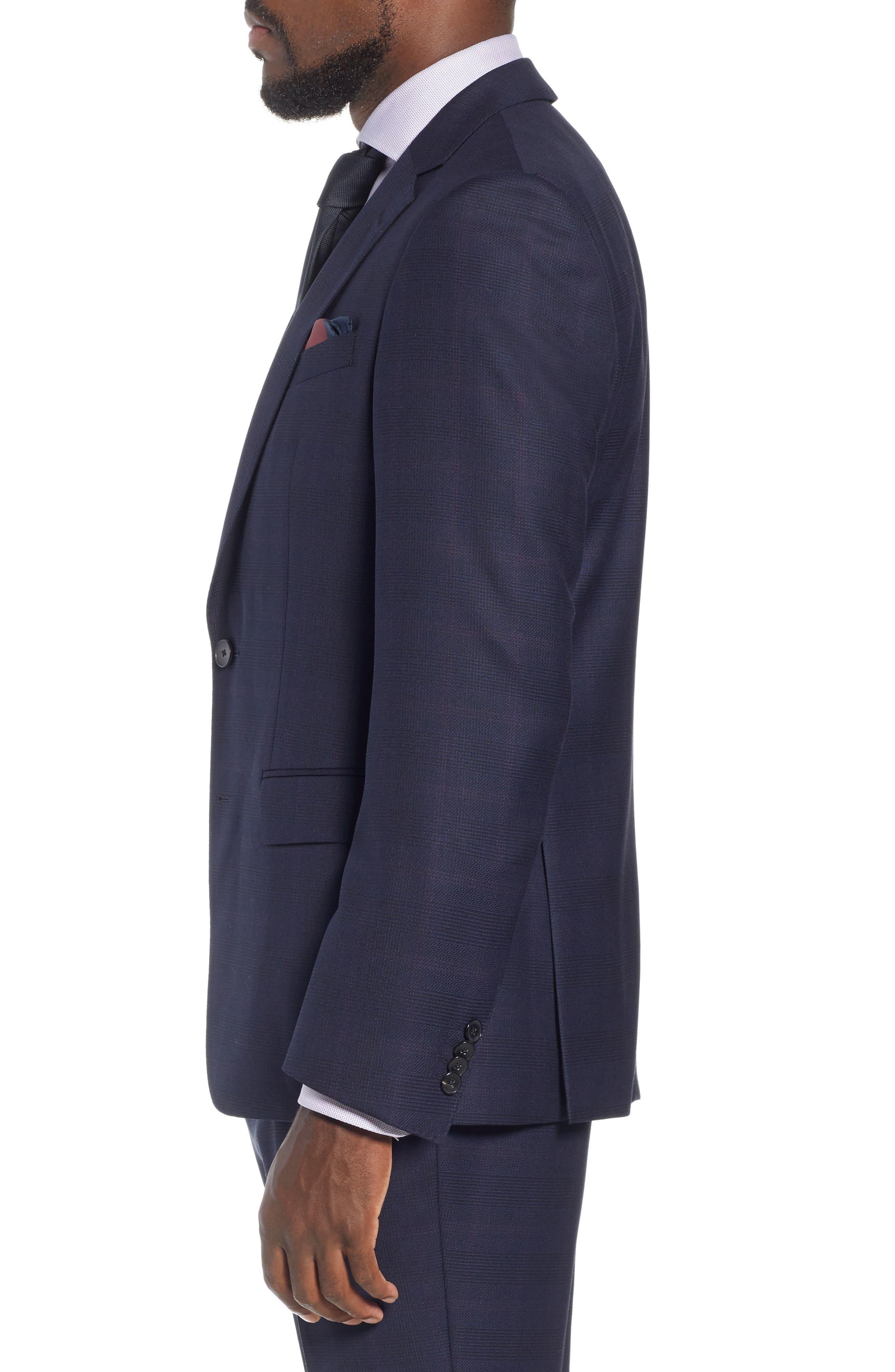 x Nordstrom Huge/Genius Trim Fit Plaid Wool Suit,                             Alternate thumbnail 3, color,                             NAVY