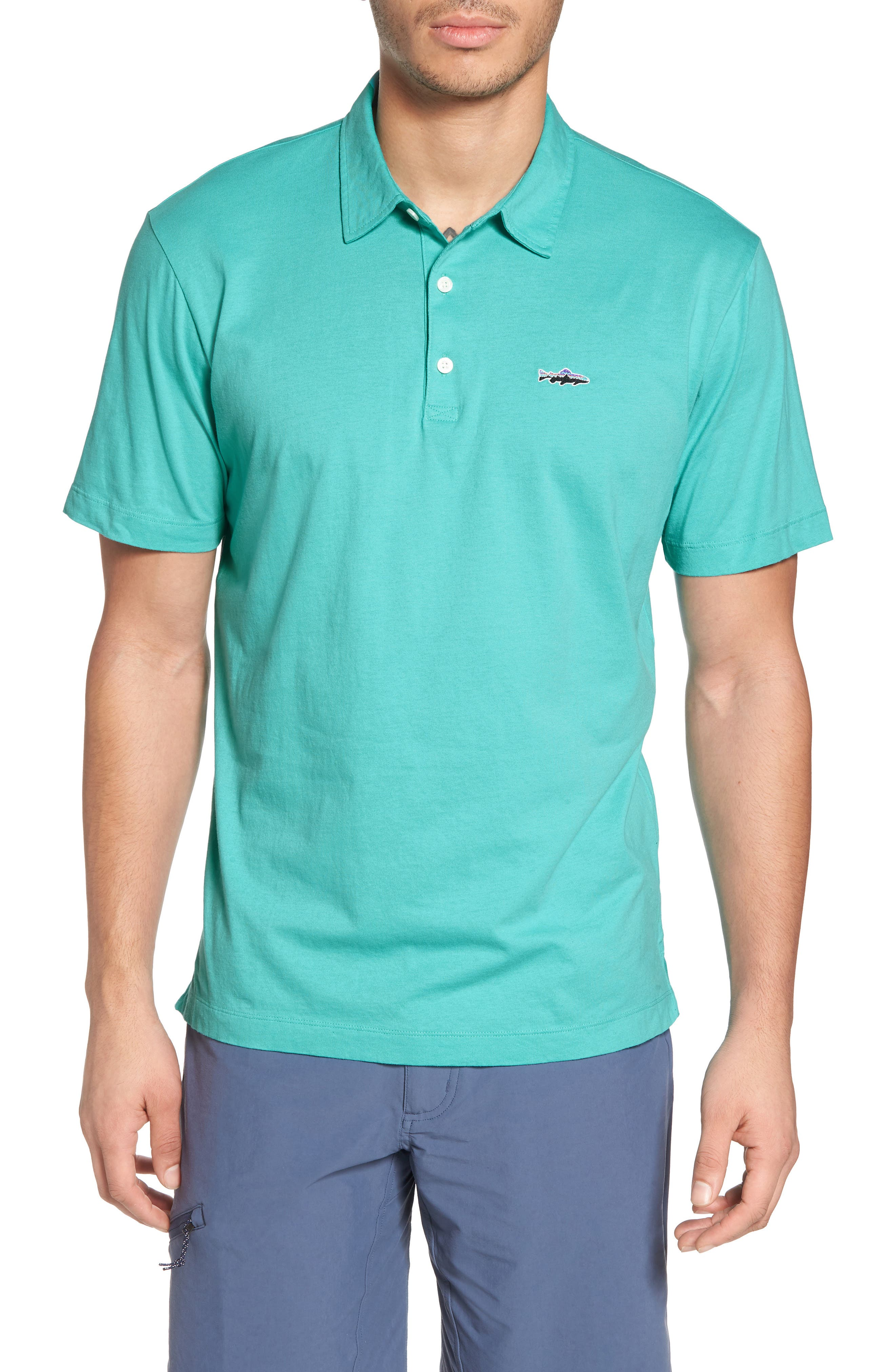 'Trout Fitz Roy' Organic Cotton Polo,                             Main thumbnail 1, color,                             STRAIGHT BLUE