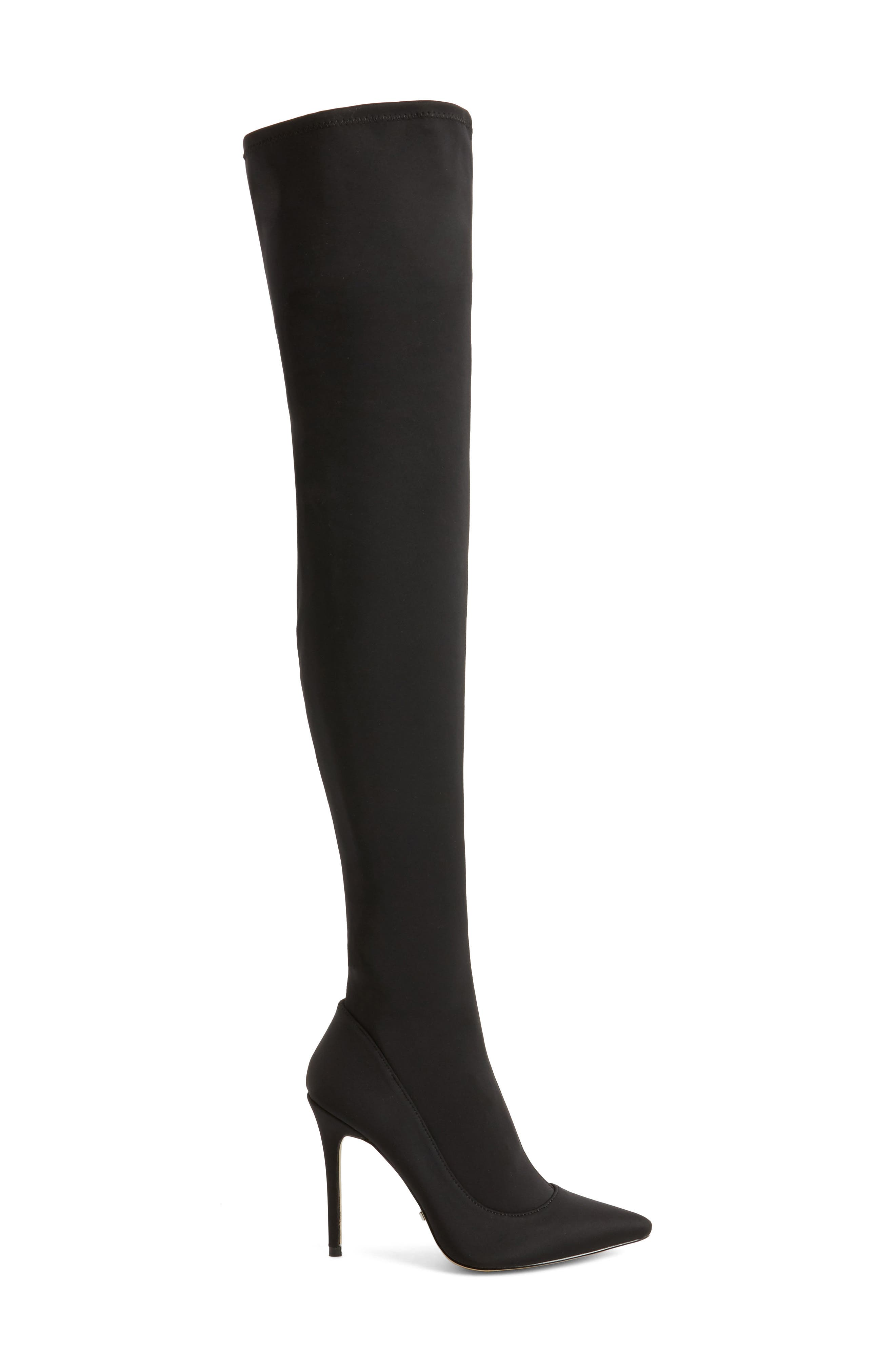 TOPSHOP,                             Bellini Stiletto Over the Knee Boot,                             Alternate thumbnail 3, color,                             001