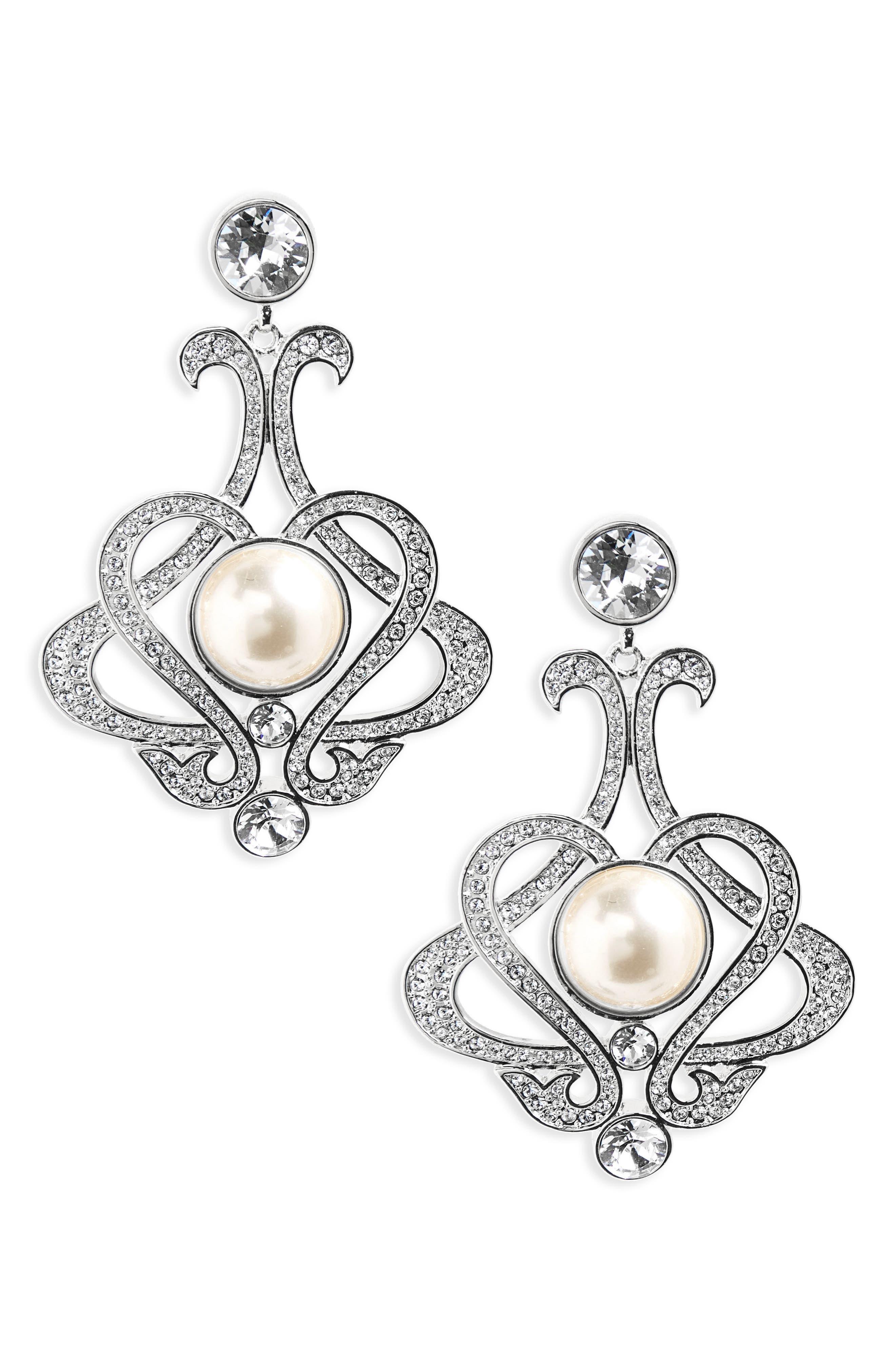 NINA,                             Swarovski Crystal & Imitation Pearl Chandelier Earrings,                             Main thumbnail 1, color,                             043