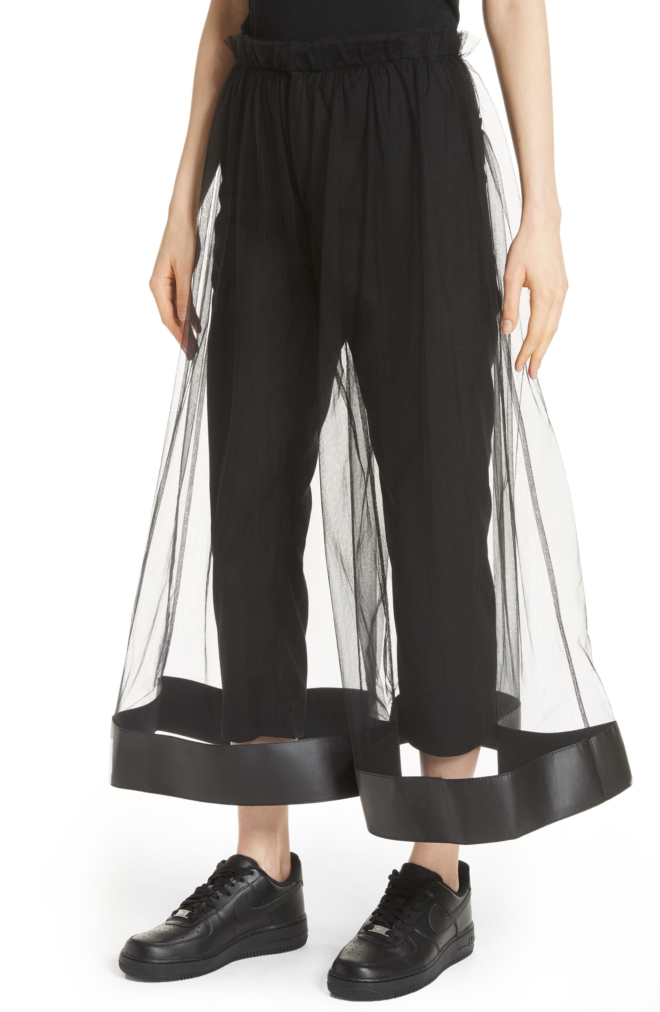 Tulle Overlay Crop Pants,                             Alternate thumbnail 4, color,                             001