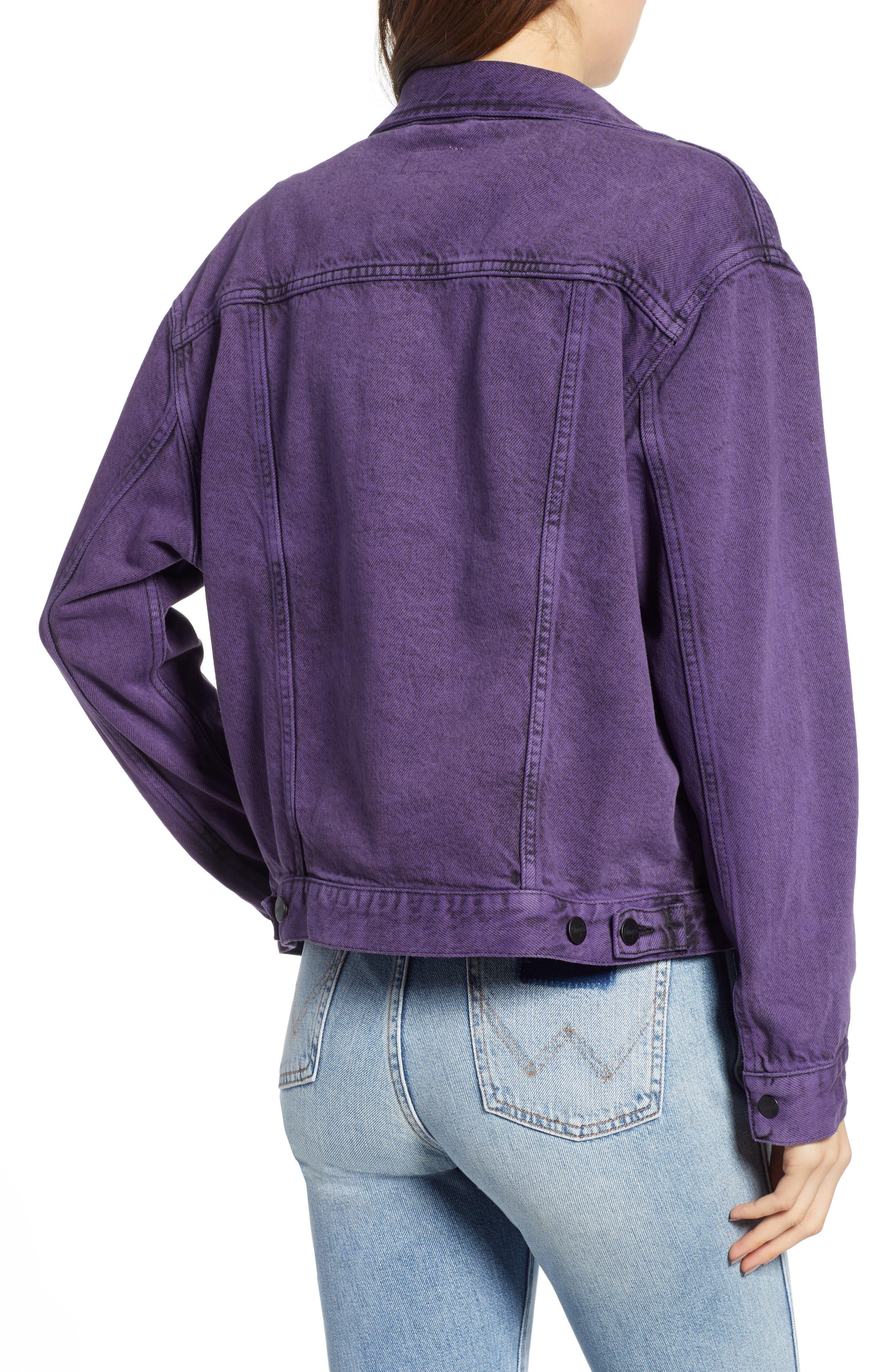 Denim Jacket,                             Alternate thumbnail 2, color,                             PURPLE POP
