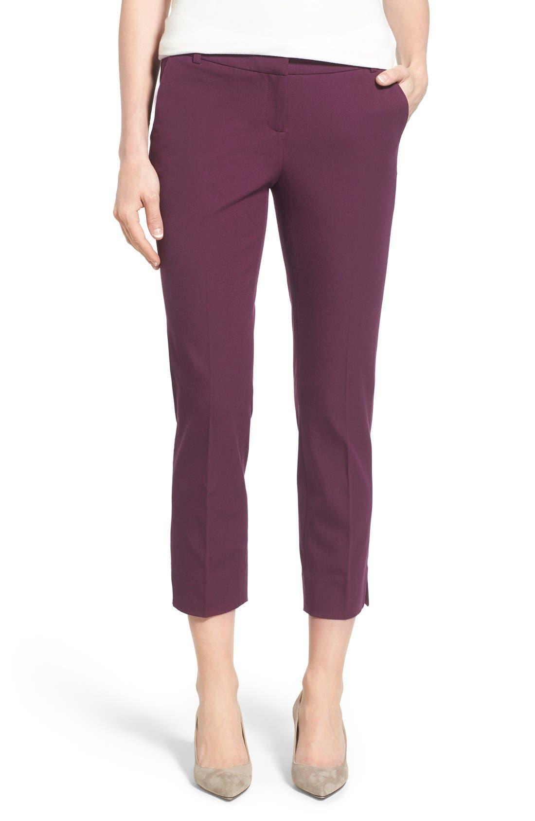 Crop Stretch Cotton Pants,                             Main thumbnail 16, color,