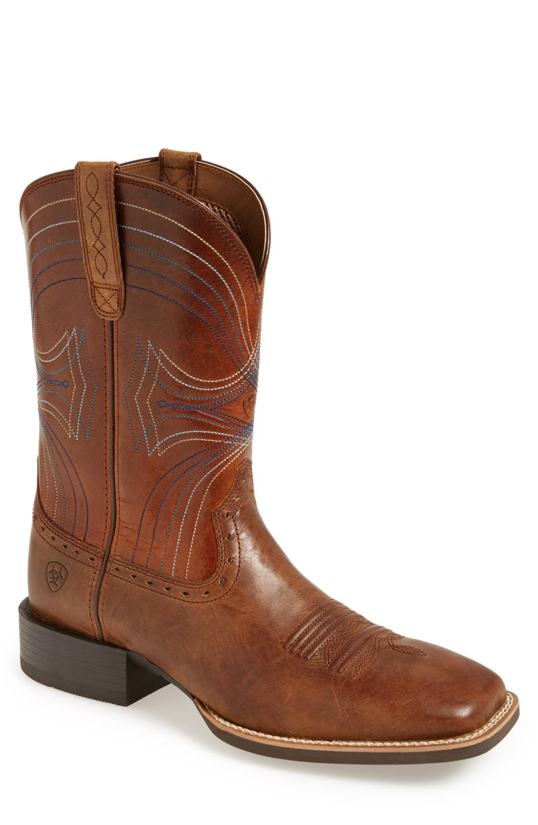 'Sport' Leather Cowboy Boot,                             Main thumbnail 1, color,                             BROWN