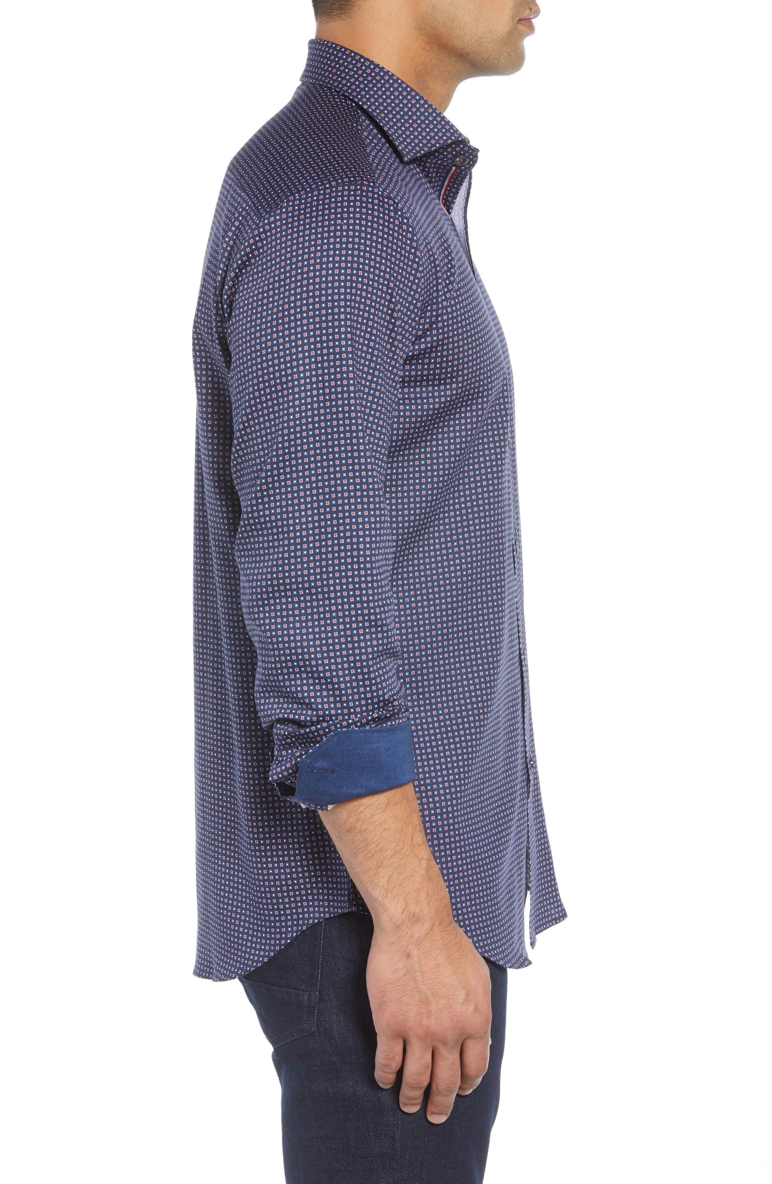 BUGATCHI,                             Shaped Fit Print Sport Shirt,                             Alternate thumbnail 4, color,                             400