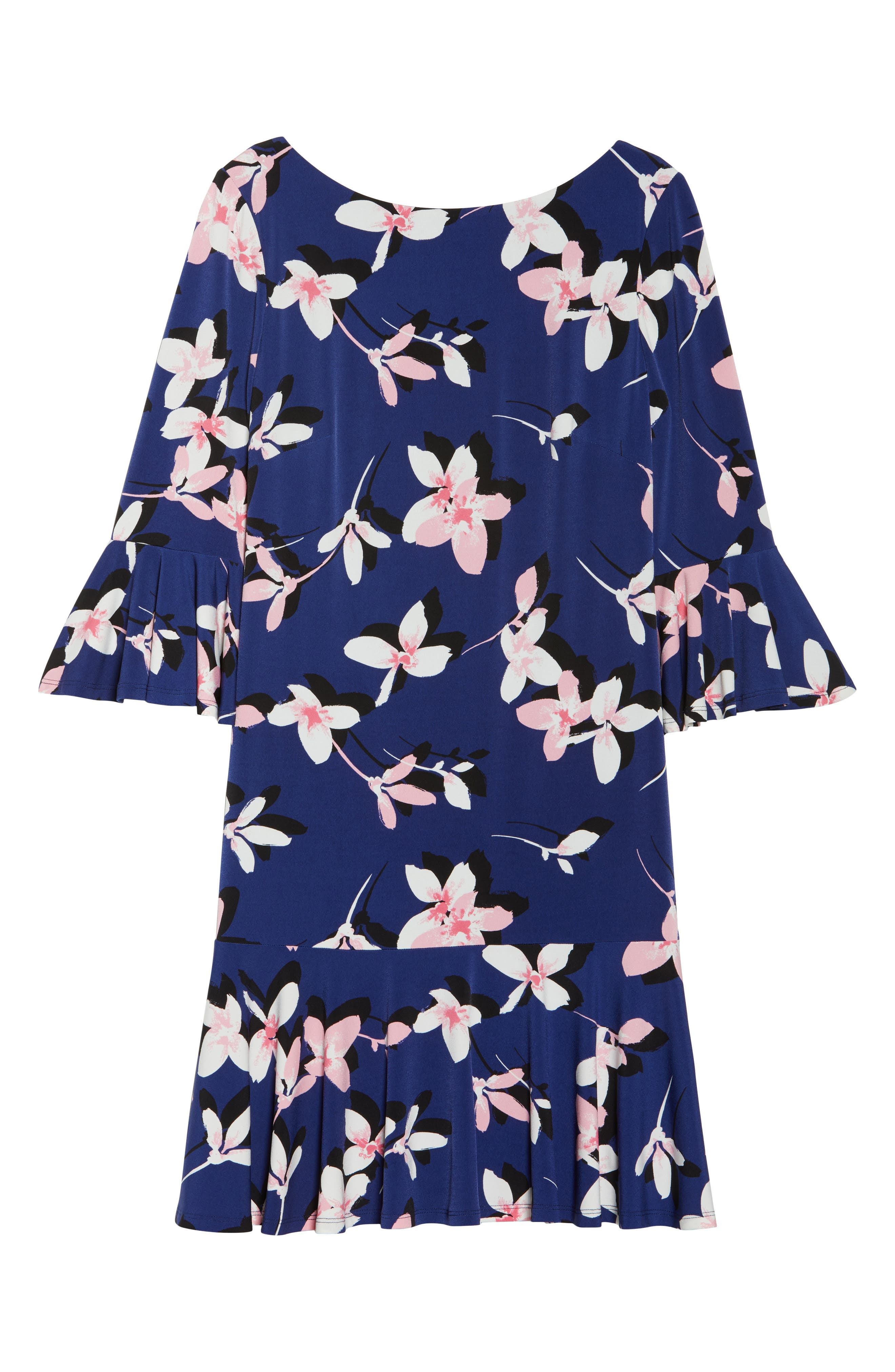 Floral Bell Sleeve Dress,                             Alternate thumbnail 7, color,                             NAVY/ PINK