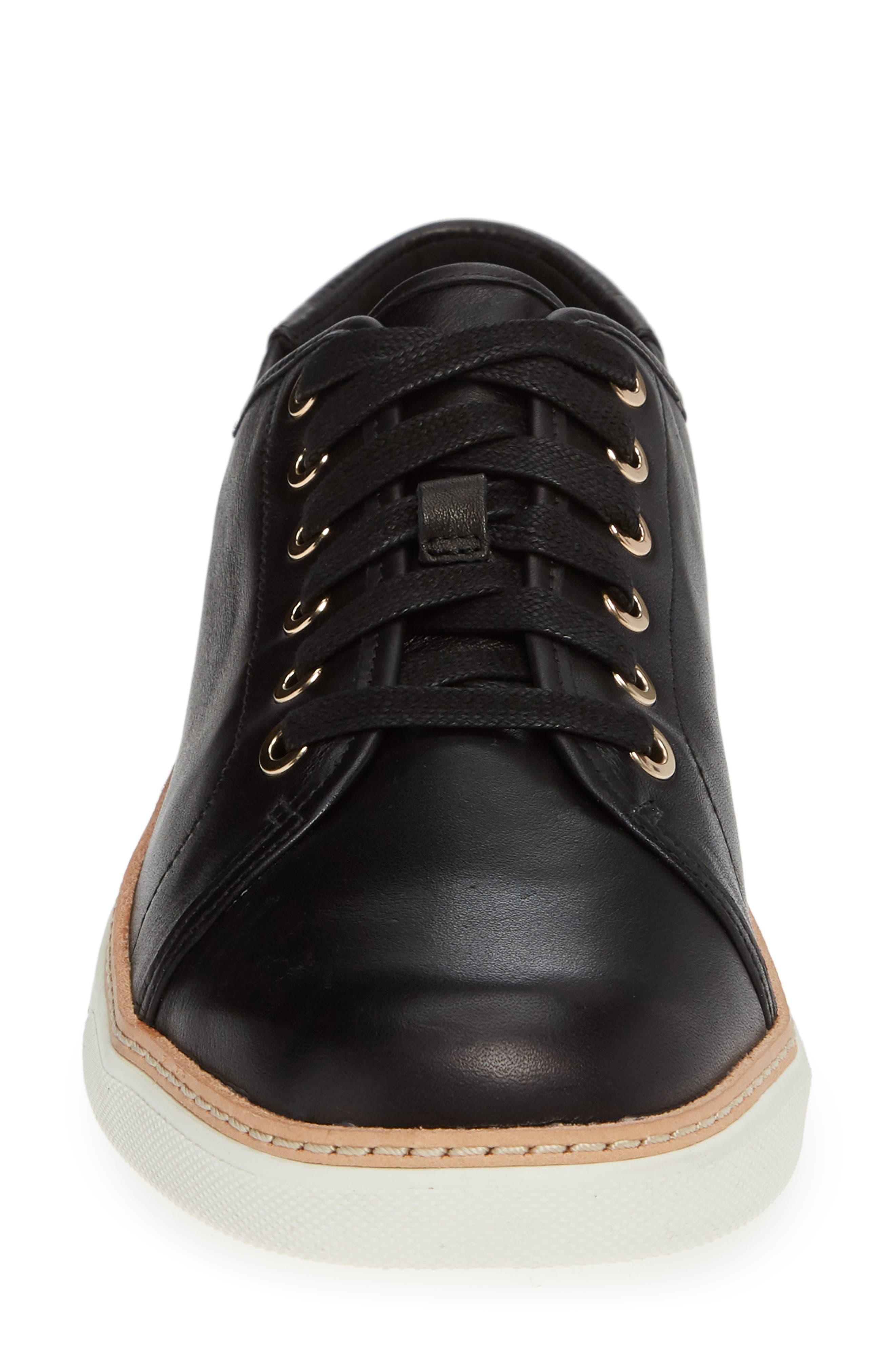 Leah Sneaker,                             Alternate thumbnail 4, color,                             BLACK LEATHER