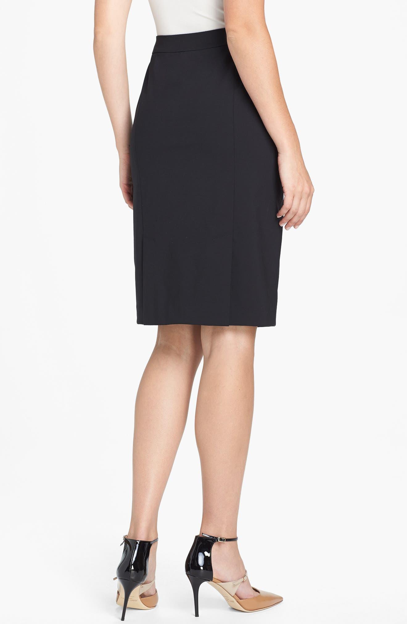 Stretch Wool Pencil Skirt,                             Alternate thumbnail 3, color,                             BLACK