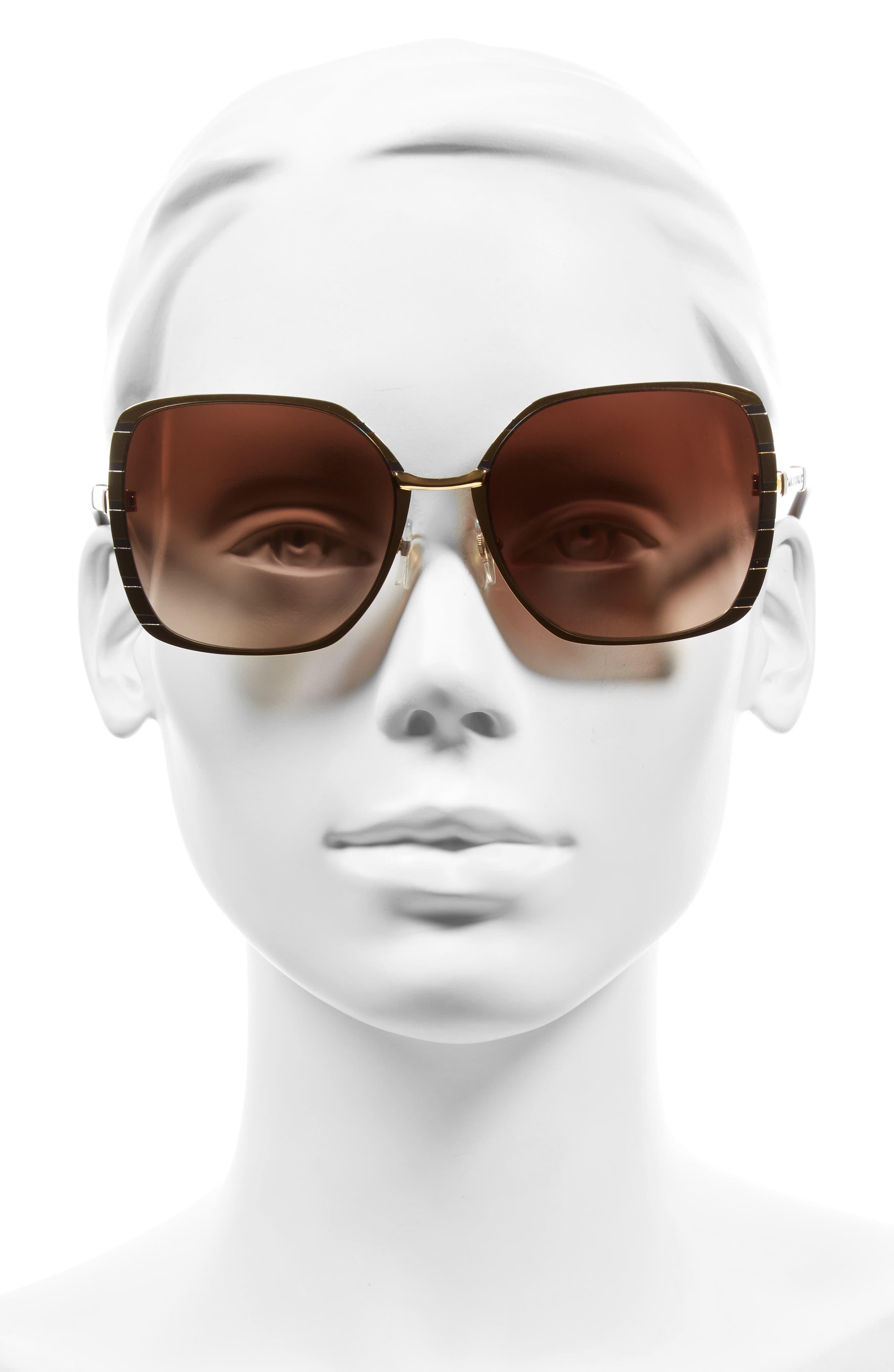 57mm Gradient Square Sunglasses,                             Alternate thumbnail 6, color,