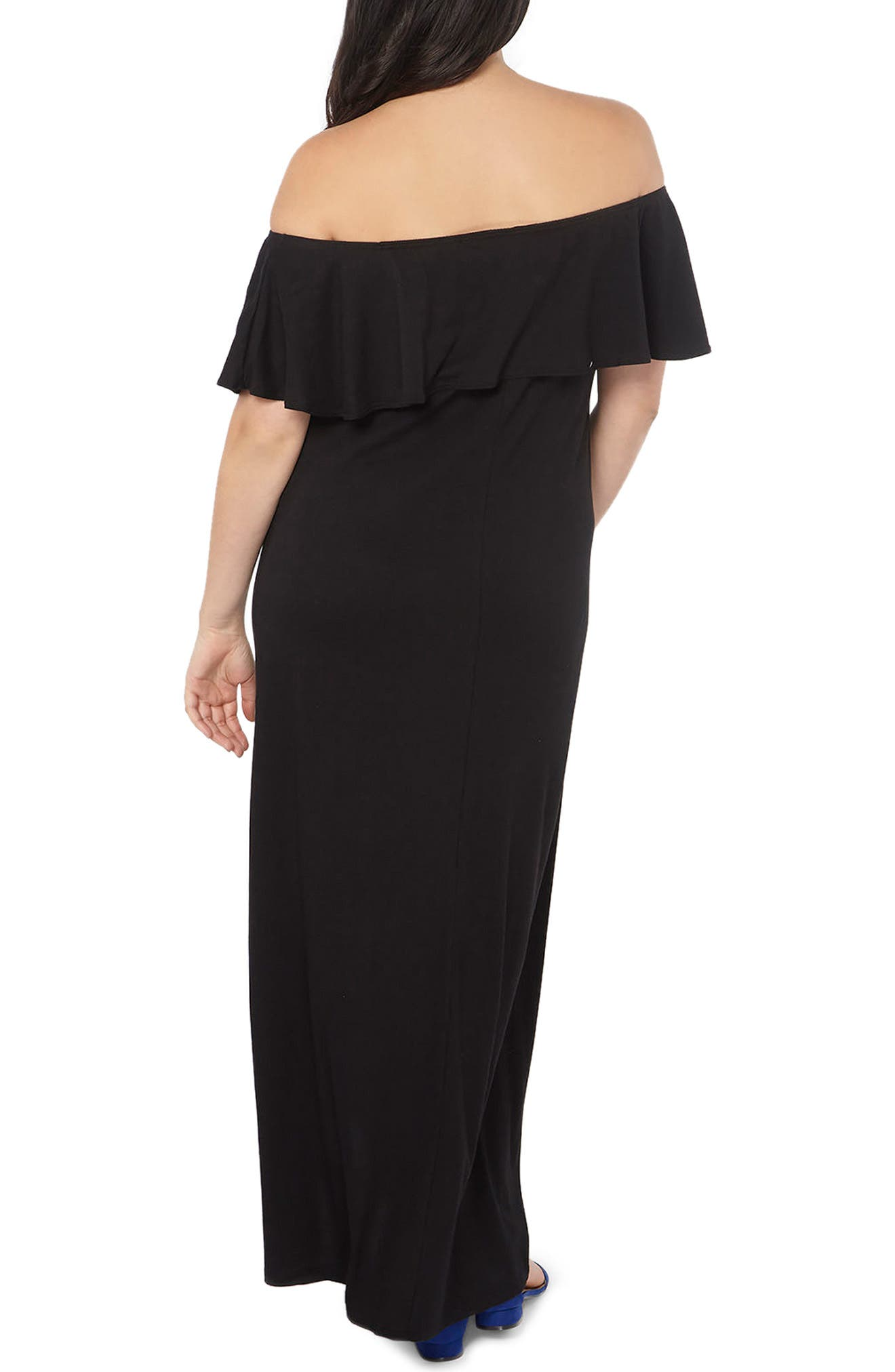 Embroidered Off the Shoulder Maxi Dress,                             Alternate thumbnail 2, color,                             001