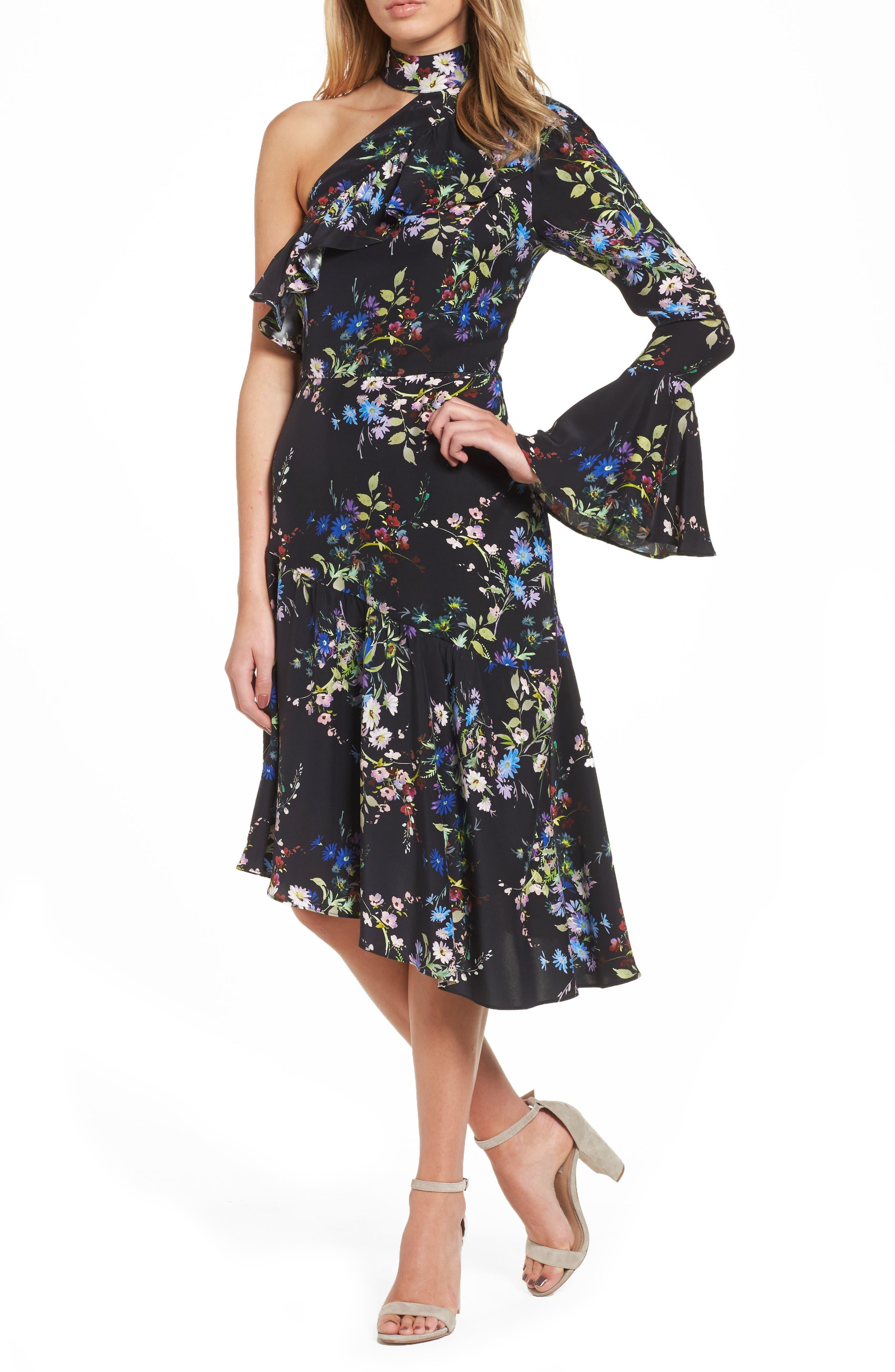 Rine One-Shoulder Silk Dress,                             Main thumbnail 1, color,                             016